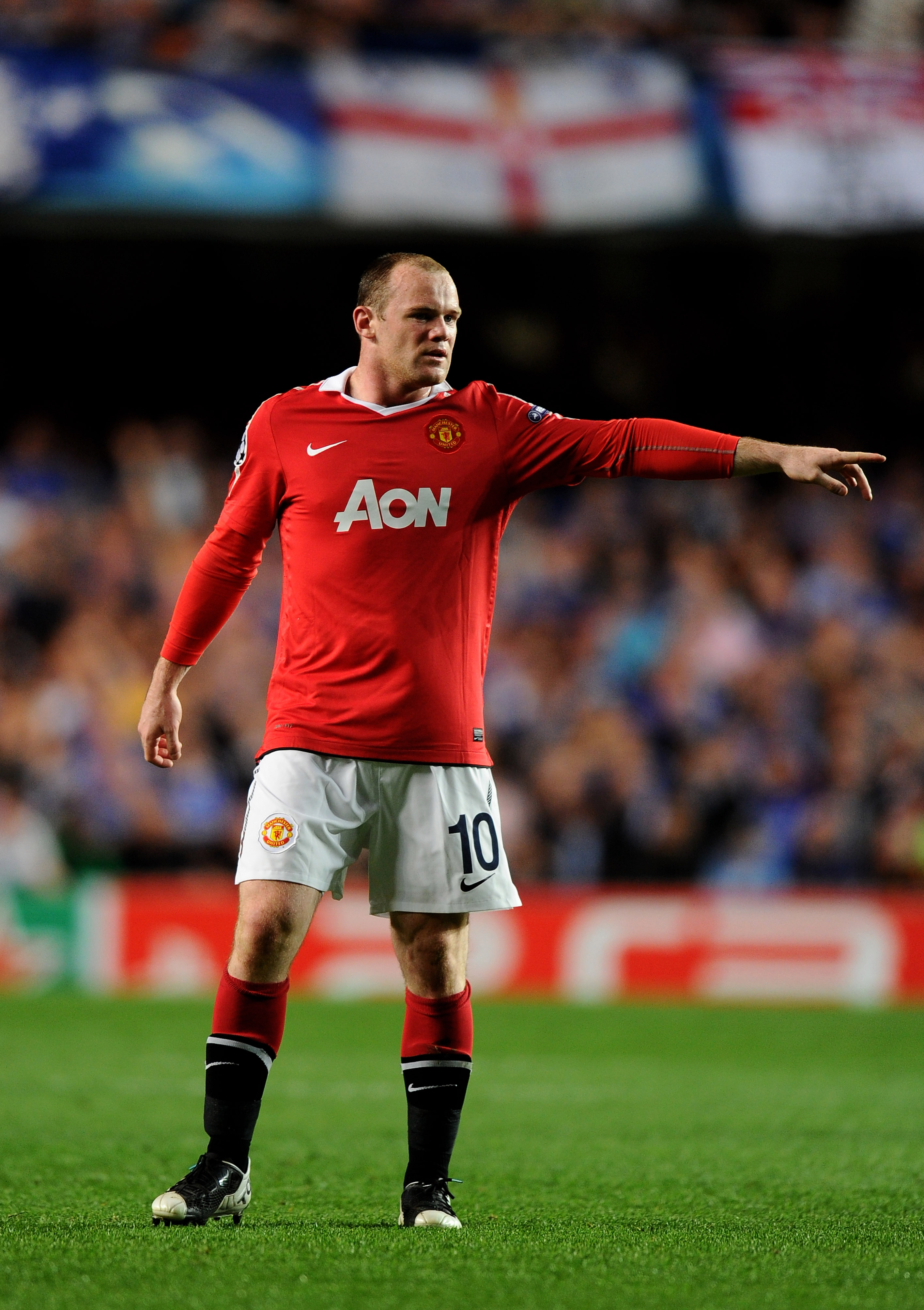 LONDON, ENGLAND - APRIL 06:  Wayne Rooney of Manchester United gestures during the UEFA Champions League quarter final first leg match between Chelsea and Manchester United at Stamford Bridge on April 6, 2011 in London, England.  (Photo by Mike Hewitt/Get