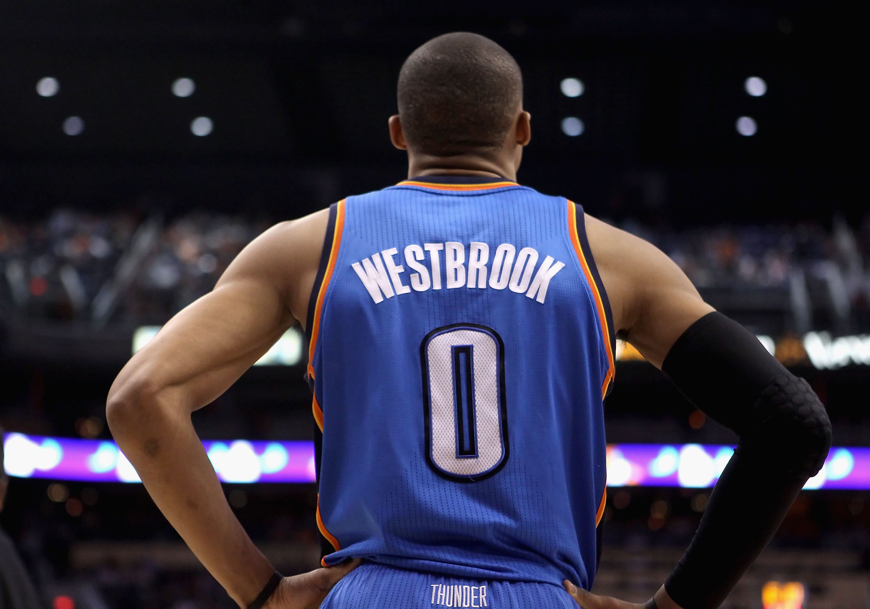 PHOENIX, AZ - MARCH 30:  Russell Westbrook #0 of the Oklahoma City Thunder in action during the NBA game against the Phoenix Suns at US Airways Center on March 30, 2011 in Phoenix, Arizona. The Thunder defeated the Suns 116-98.   NOTE TO USER: User expres