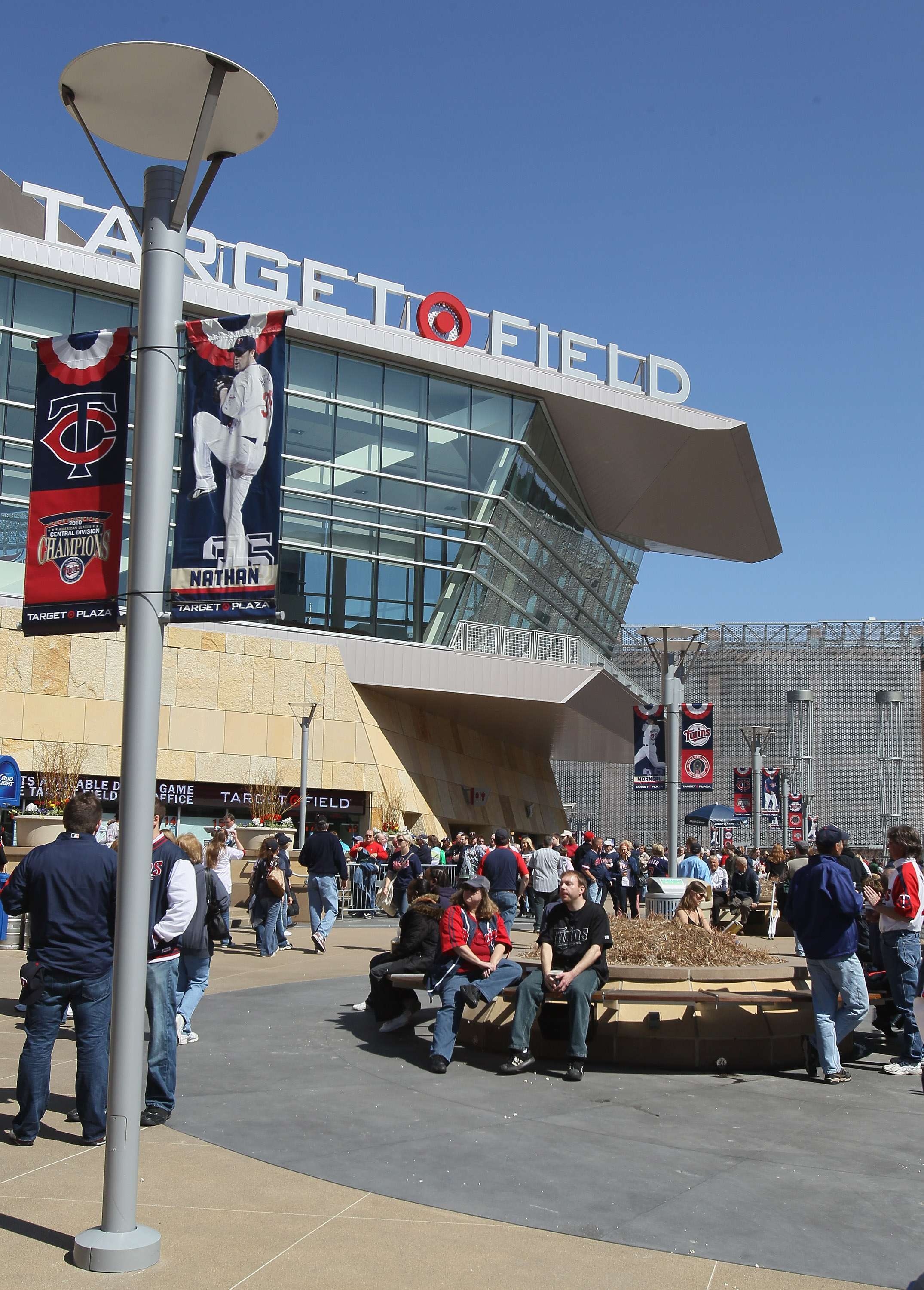 MINNEAPOLIS, MN - APRIL 08:  Fans enter the stadium before the game between the Oakland Athletics and the Minnesota Twins during Opening Day on April 8, 2011 at Target Field in Minneapolis, Minnesota.  (Photo by Elsa/Getty Images)