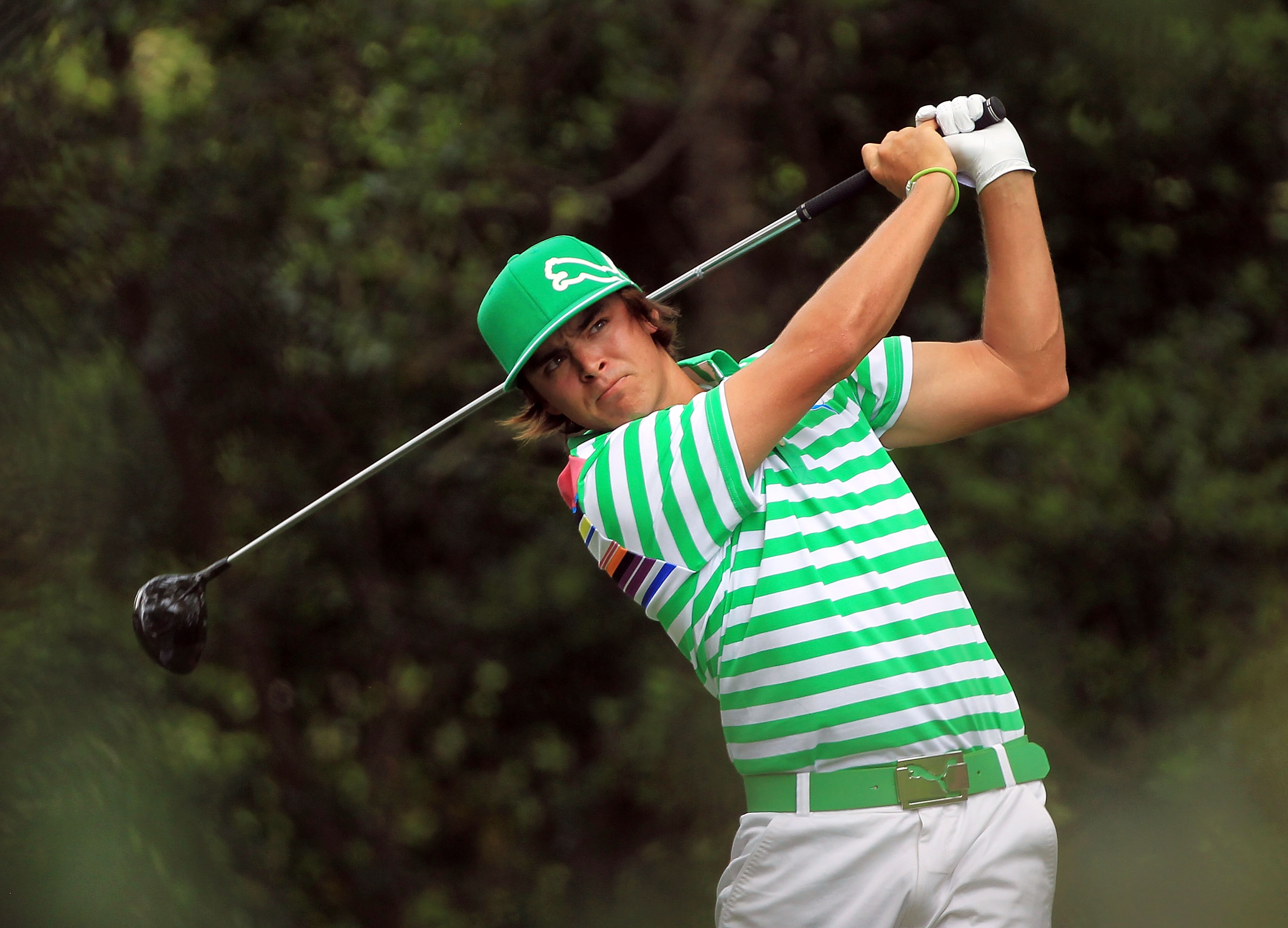 AUGUSTA, GA - APRIL 09:  Rickie Fowler watches his tee shot on the second hole during the third round of the 2011 Masters Tournament at Augusta National Golf Club on April 9, 2011 in Augusta, Georgia.  (Photo by David Cannon/Getty Images)
