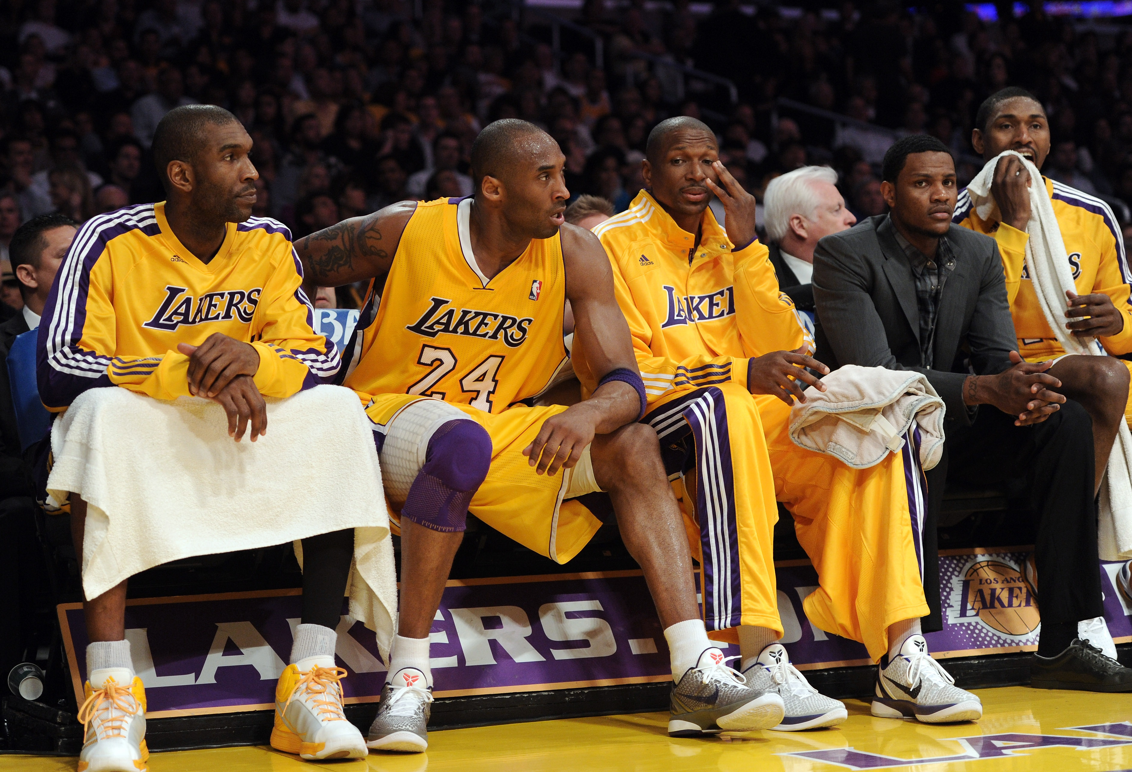 LOS ANGELES, CA - APRIL 12:  Kobe Bryant #24 of the Los Angeles Lakers sits on the bench after he is called for a technical foul at Staples Center on April 12, 2011 in Los Angeles, California.  NOTE TO USER: User expressly acknowledges and agrees that, by