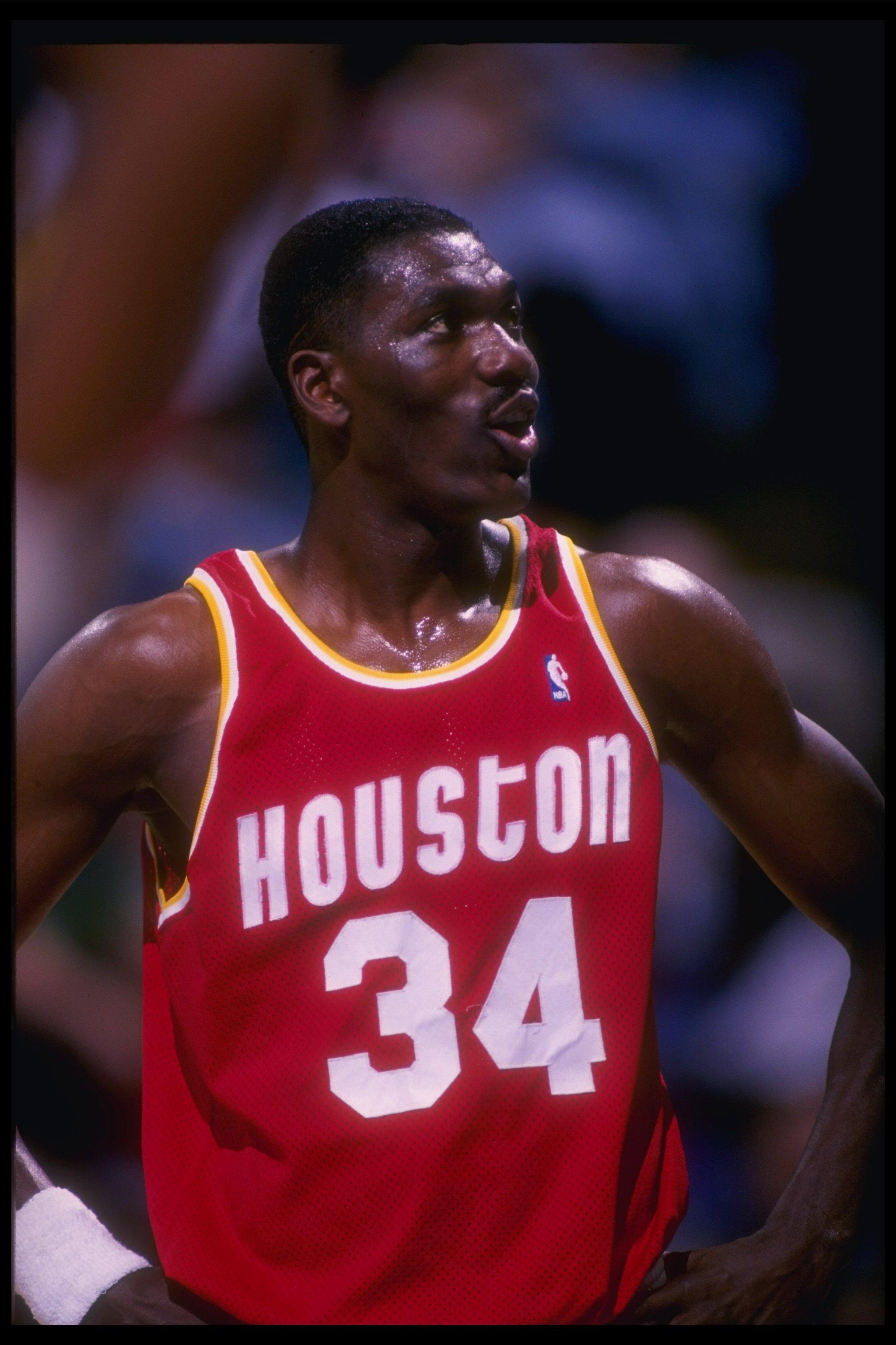 3 Feb 1993:  Center Hakeem Olajuwon of the Houston Rockets looks on during a game. Mandatory Credit: Layne Murdoch  /Allsport Mandatory Credit: Layne Murdoch  /Allsport