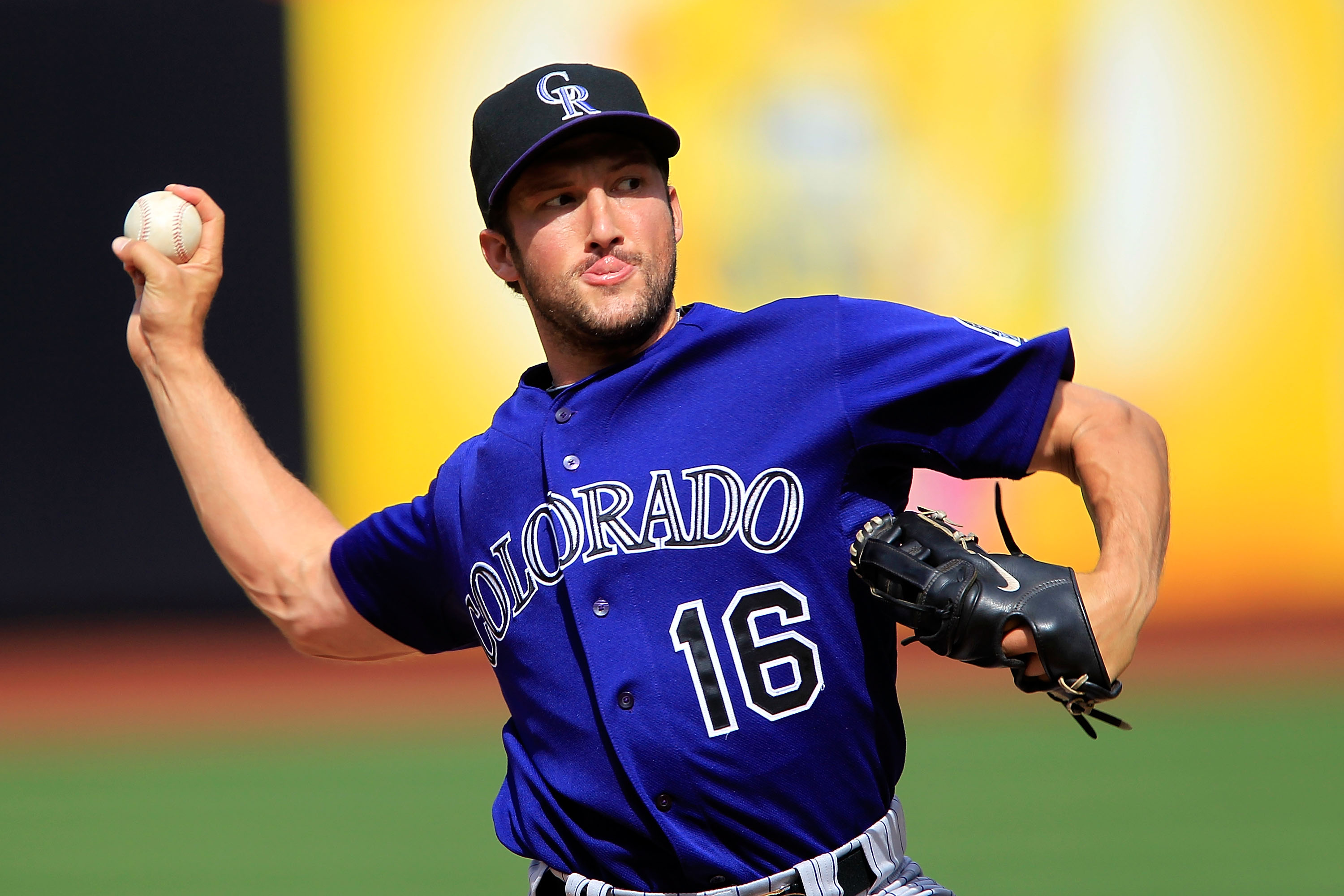 Colorado Rockies closer Huston Street throws a pitch in a rocky outing against the Mets at Citi Field