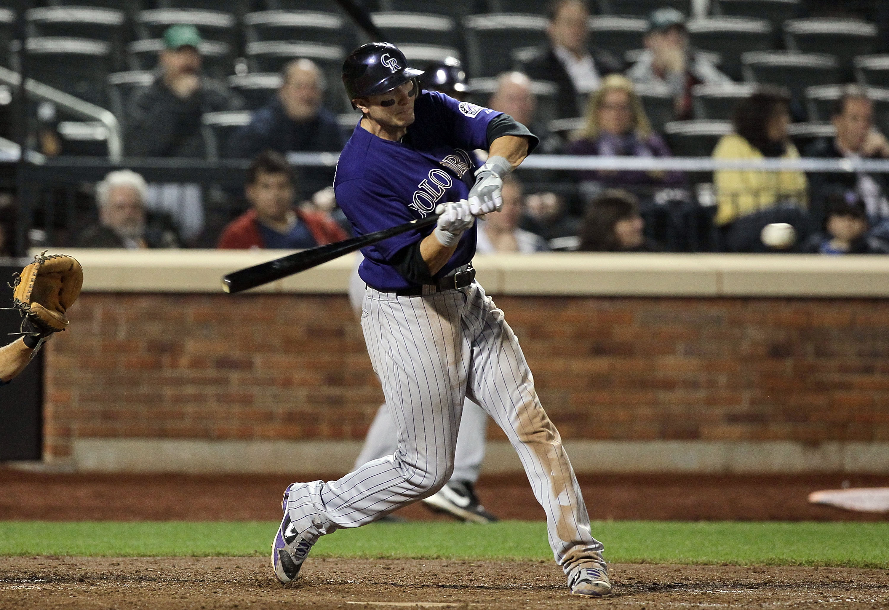 Troy Tulowitzki blasts one of his four home runs during the Rockies four-game visit to Citi Field, where they swept the New York Mets