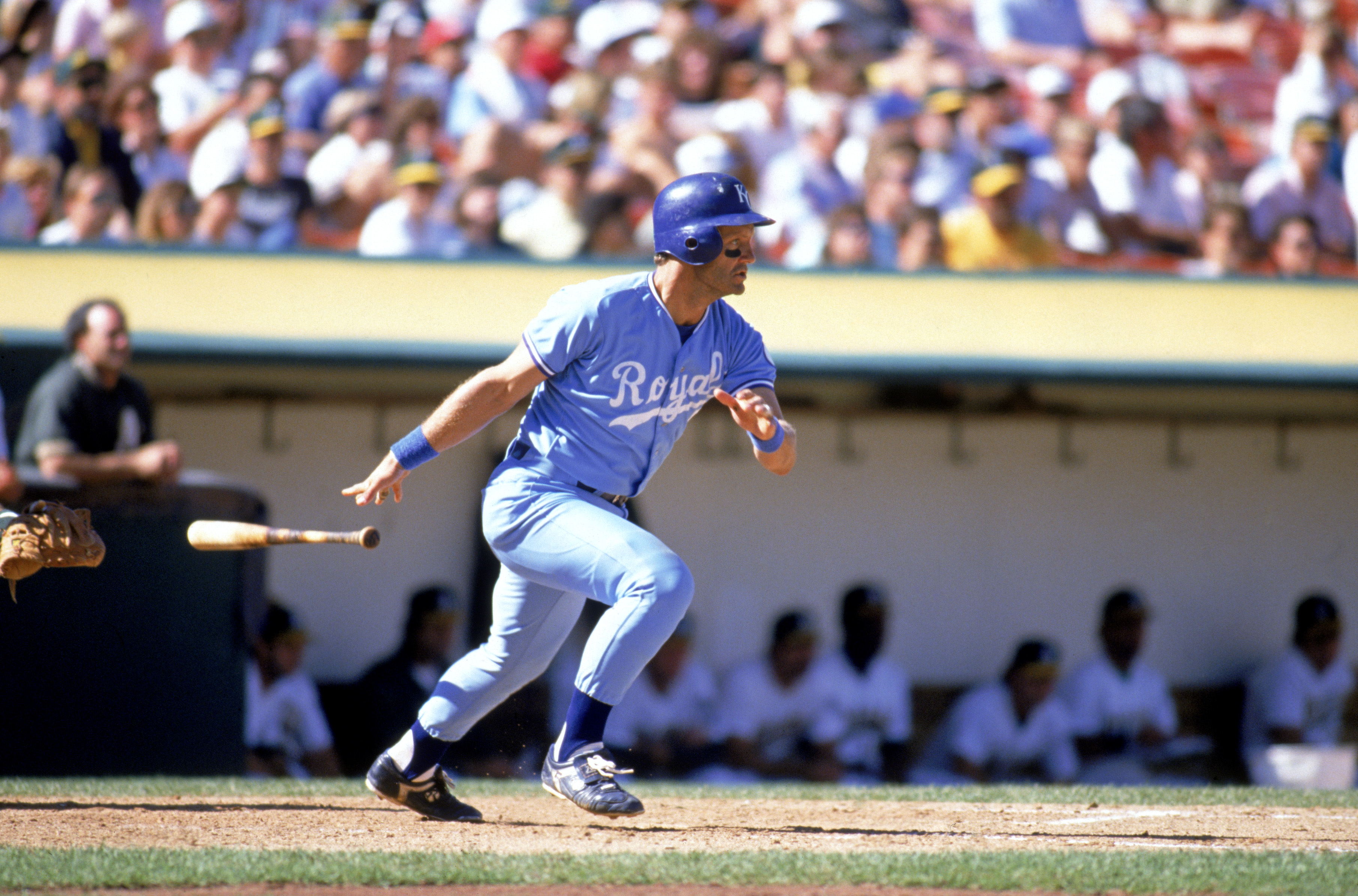 OAKLAND, CA - 1989:  George Brett #5 of the Kansas City Royals bats during a game in the 1989 season against the Oakland Athletics at Oakland-Alameda Coliseum in Oakland, California. (Photo by Otto Greule Jr/Getty Images)