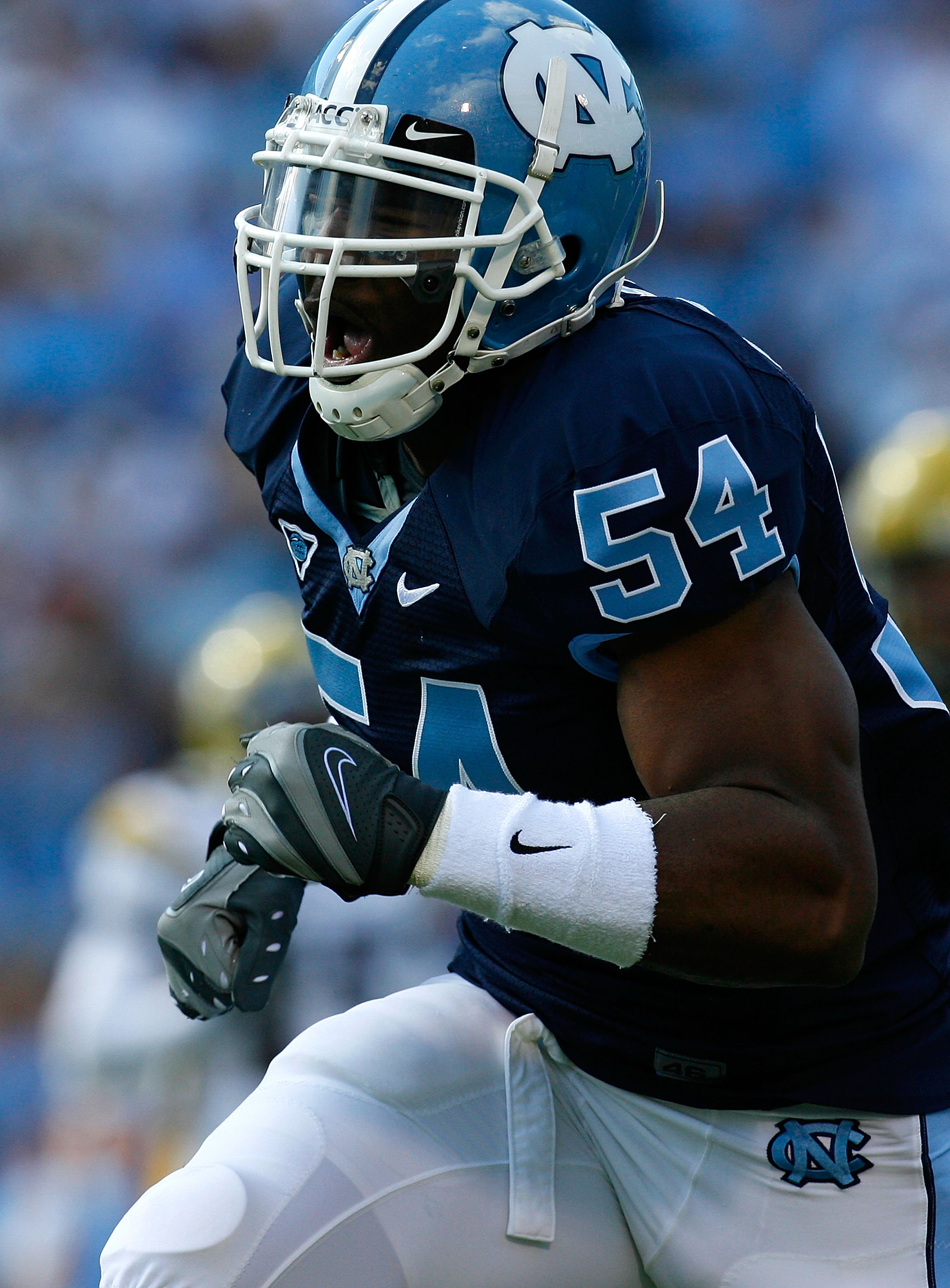 CHAPEL HILL, NC - NOVEMBER 08:  Linebacker Bruce Carter #54 of the North Carolina Tar Heels reacts after a defensive stop against the Georgia Tech Yellow Jackets during the game at Kenan Stadium on November 8, 2008 in Chapel Hill, North Carolina.  (Photo