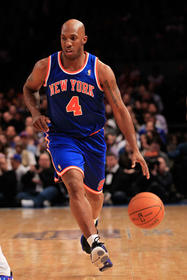 NEW YORK, NY - FEBRUARY 23:  Chauncey Billups #4 of the New York Knicks dribbles the ball against the Milwaukee Bucks at Madison Square Garden on February 23, 2011 in New York City. NOTE TO USER: User expressly acknowledges and agrees that, by downloading