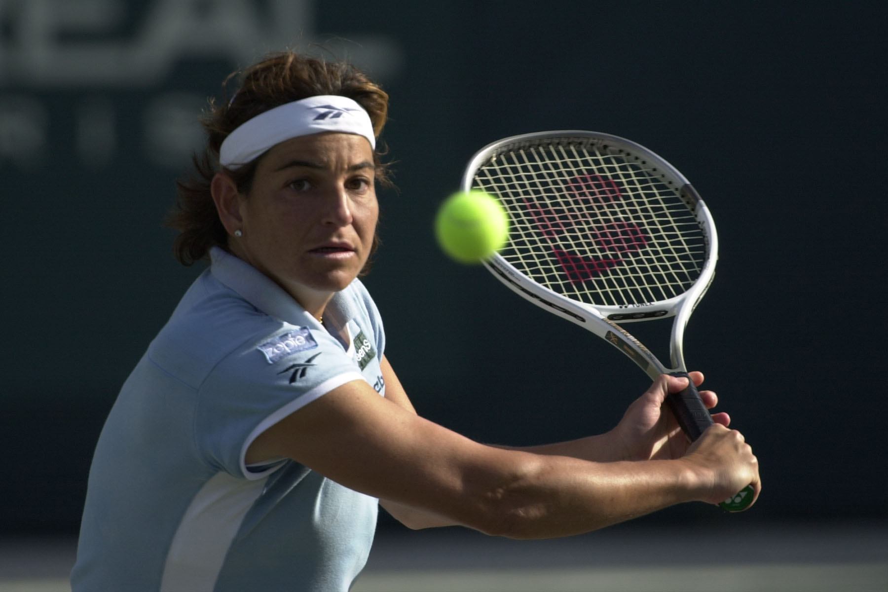 17  Apr 2001:  Aranxta Sanchez Vicario of Spain returns a shot to Andrea Glass of Germany and Iva Majoli of Croatia while playing doubles with Jennifer Capriati during the first round of the Family Circle Cup at the Tennis Center at Daniel Island in Charl