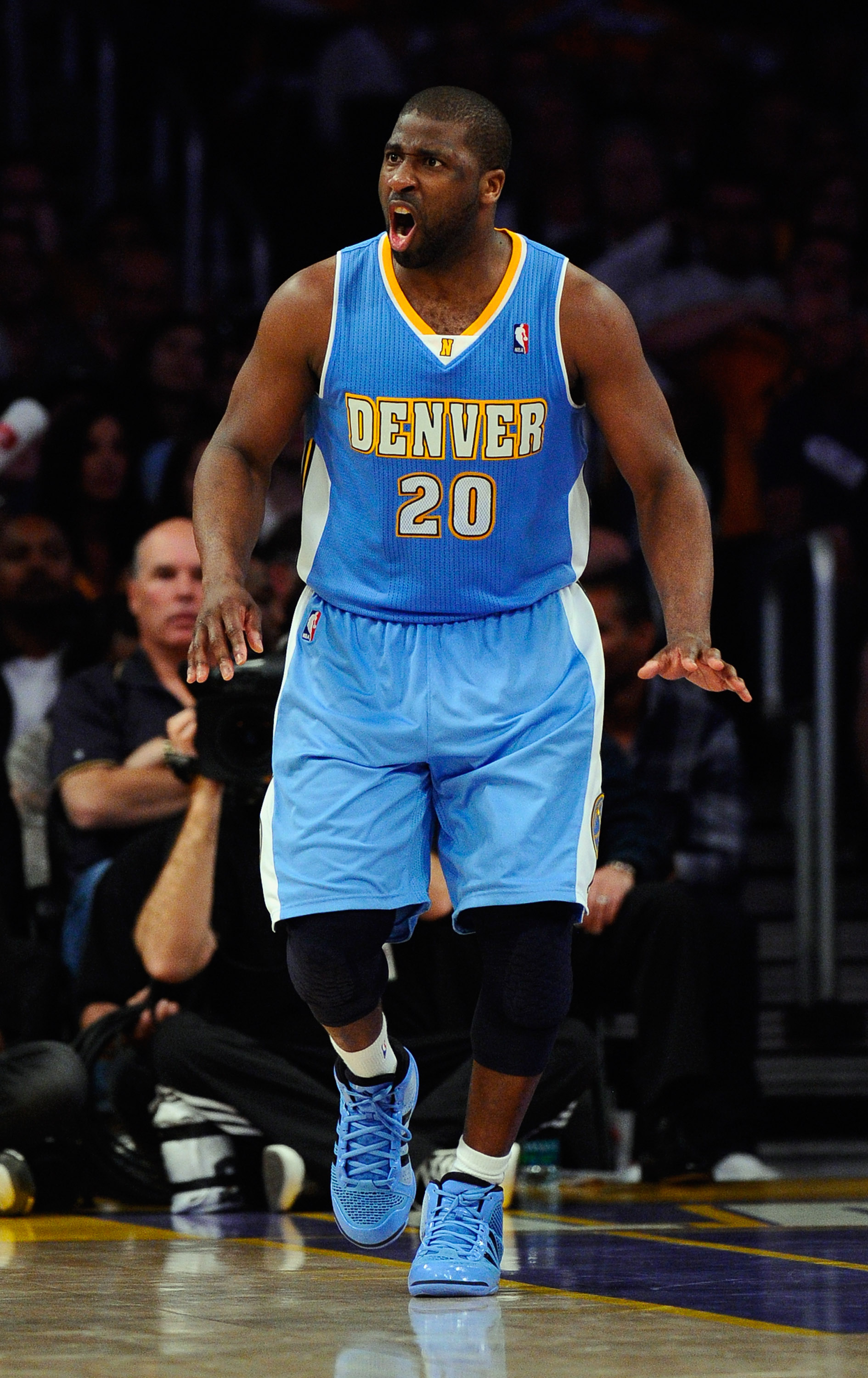 LOS ANGELES, CA - APRIL 03:  Raymond Felton #20 of the Denver Nuggets reacts during the game against the Los Angeles Lakers at Staples Center on April 3, 2011 in Los Angeles, California. NOTE TO USER: User expressly acknowledges and agrees that, by downlo
