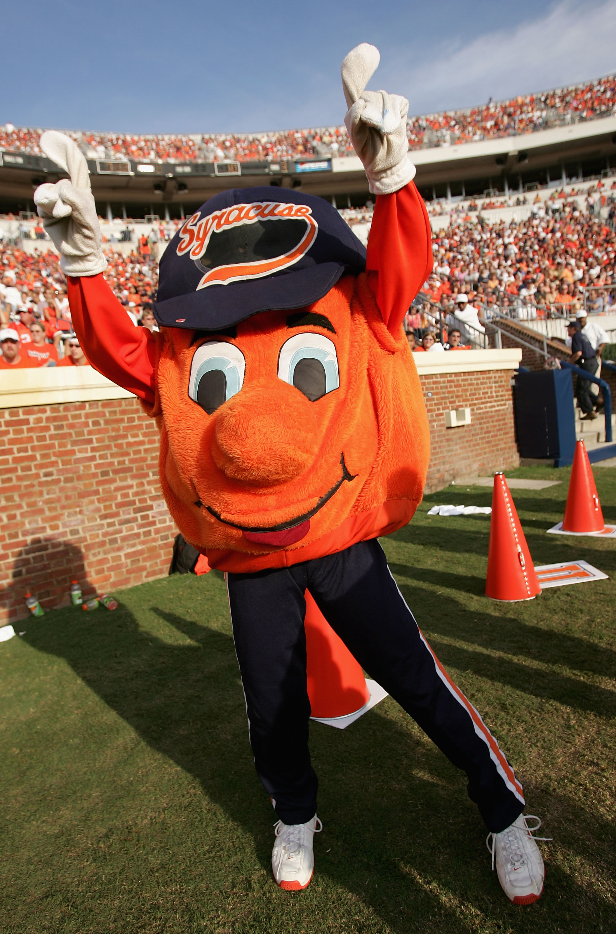 CHARLOTTESVILLE, VA - SEPTEMBER 25:  The Syracue Orangeman mascot supports his team as they were defeated by the Virginia Cavaliers 31-10 at Scott Stadium on September 25, 2004 in Charlottesville, Virginia. (Photo by Doug Pensinger/Getty Images)