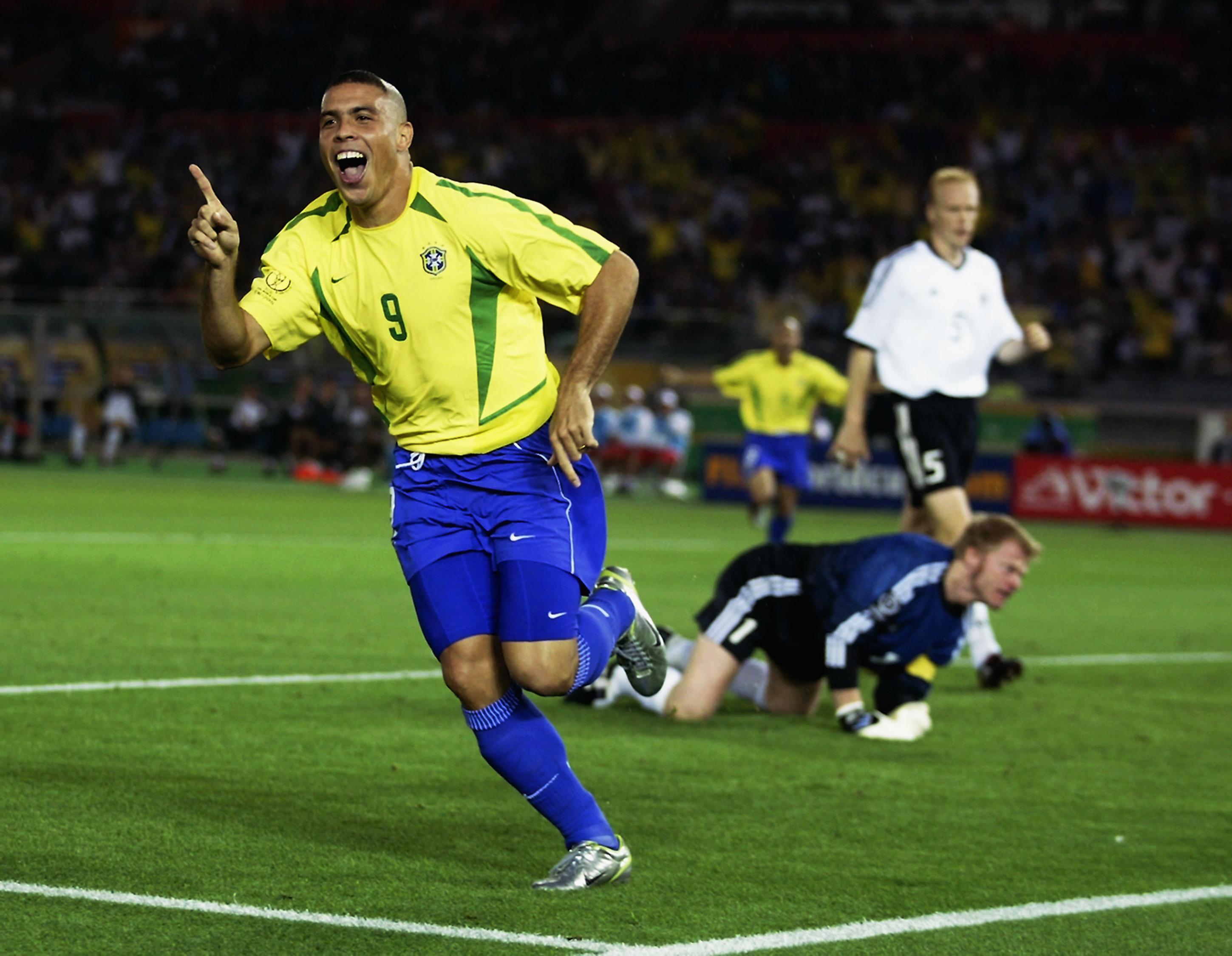 67611dba7e3 YOKOHAMA - JUNE 30  Ronaldo of Brazil celebrates after scoring opening goal  during the Germany