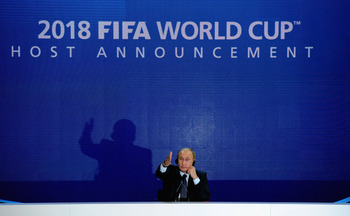 ZURICH, SWITZERLAND - DECEMBER 02:  Prime Minister of the Russian Federation Vladimir Putin speaks to the media after winning the 2018 bid duirng the FIFA World Cup 2018 & 2022 Host Countries Announcement at the Messe Conference Centre on December 2, 2010