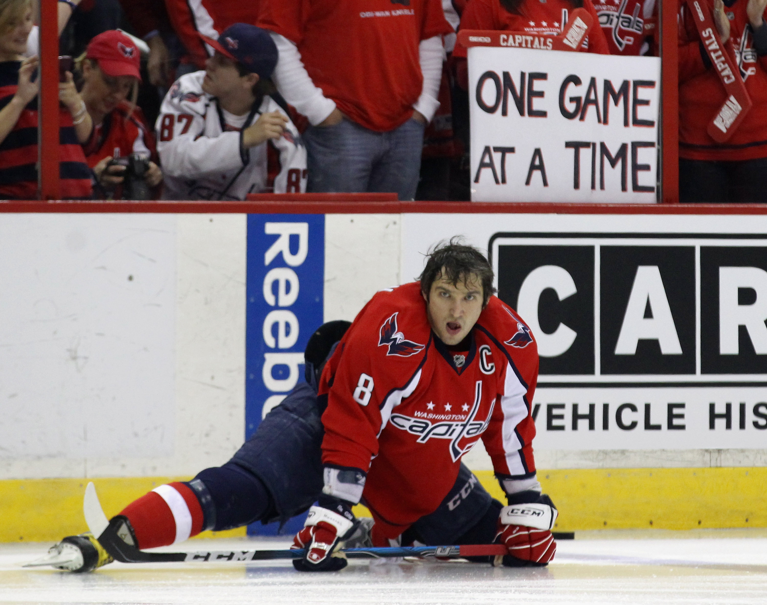 WASHINGTON, DC - APRIL 15: Alex Ovechkin #8 of the Washington Capitals warms up prior to his game against the New York Rangers in Game Two of the Eastern Conference Quarterfinals during the 2011 NHL Stanley Cup Playoffs at Verizon Center on April 15, 2011
