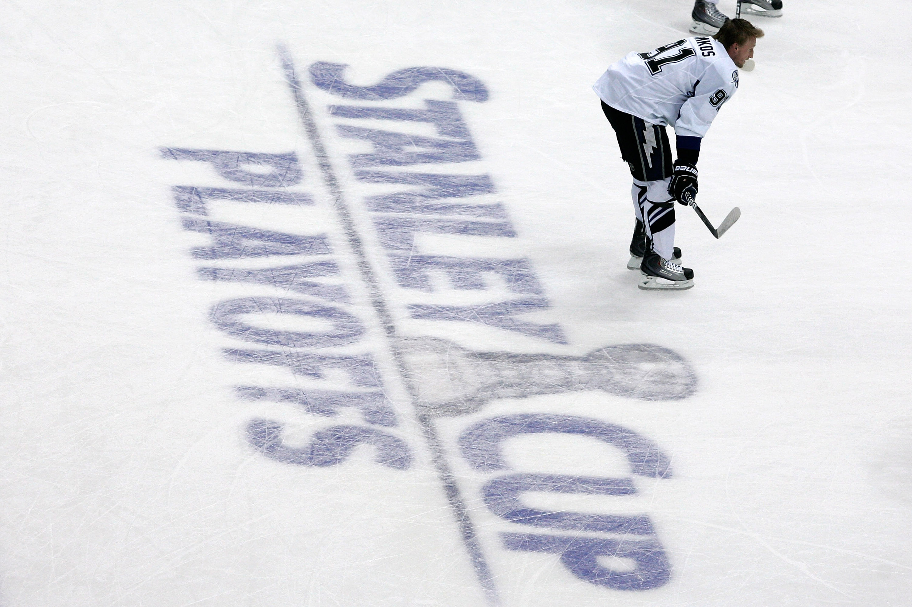 PITTSBURGH, PA - APRIL 15:  Steven Stamkos #91 of the Tampa Bay Lightning waits on the ice during warmups prior to the start of Game Two of the Eastern Conference Quarterfinals against the  Pittsburgh Penguins during the 2011 NHL Stanley Cup Playoffs at C