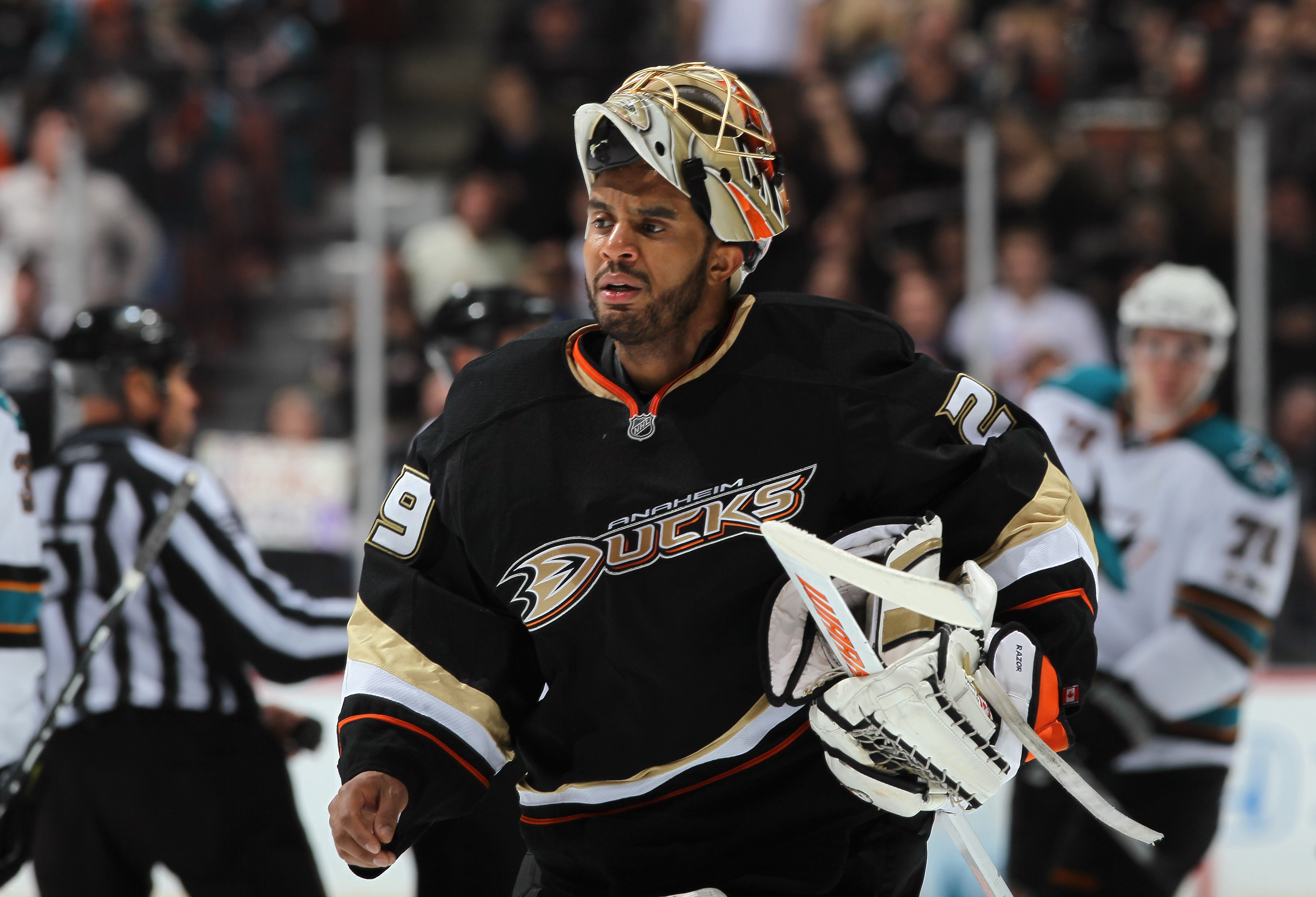 ANAHEIM, CA - APRIL 06:  Goaltender Ray Emery #29 of the Anaheim Ducks looks on against the San Jose Sharks at Honda Center on April 6, 2011 in Anaheim, California.  (Photo by Jeff Gross/Getty Images)