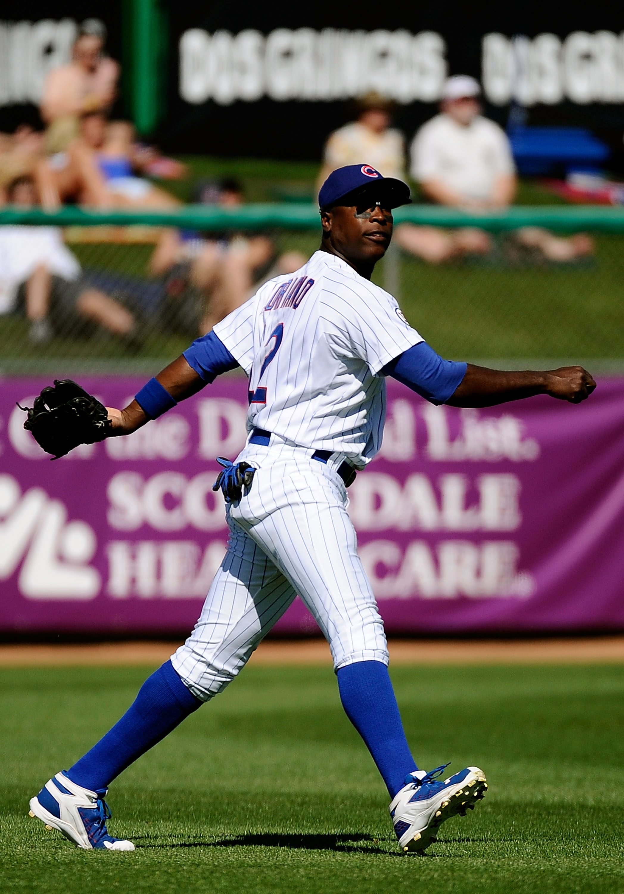 MESA, AZ - MARCH 09:  Alfonso Soriano #12 of the Chicago Cubs plays against the Kansas City Royals during the spring training baseball game at HoHoKam Stadium on March 9, 2011 in Mesa, Arizona.  (Photo by Kevork Djansezian/Getty Images)