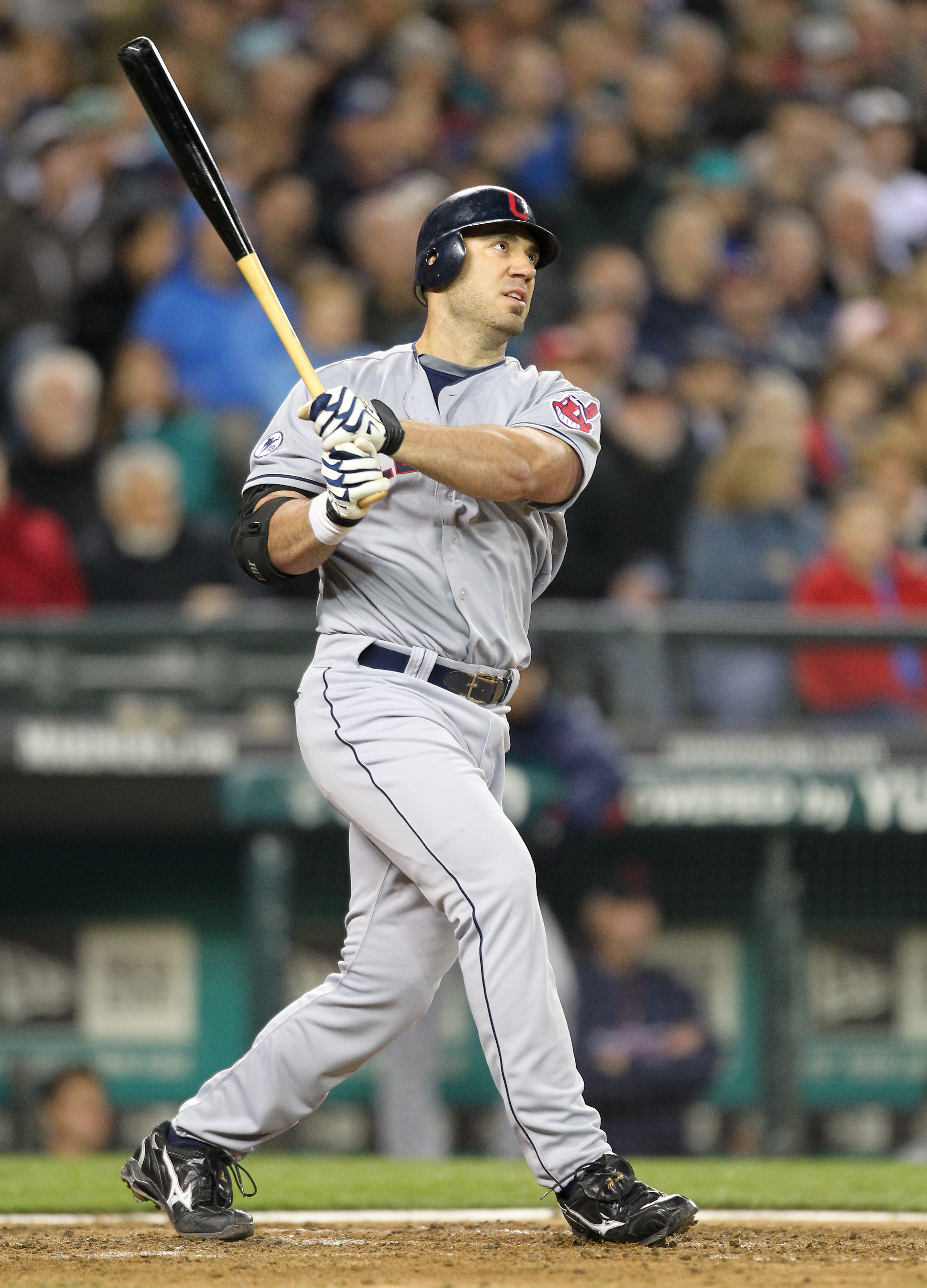 SEATTLE, WA - APRIL 08:  Travis Hafner #48 of the Cleveland Indians watches his three-run homerun in the fourth inning against the Seattle Mariners during the Mariners' home opener at Safeco Field on April 8, 2011 in Seattle, Washington. (Photo by Otto Gr