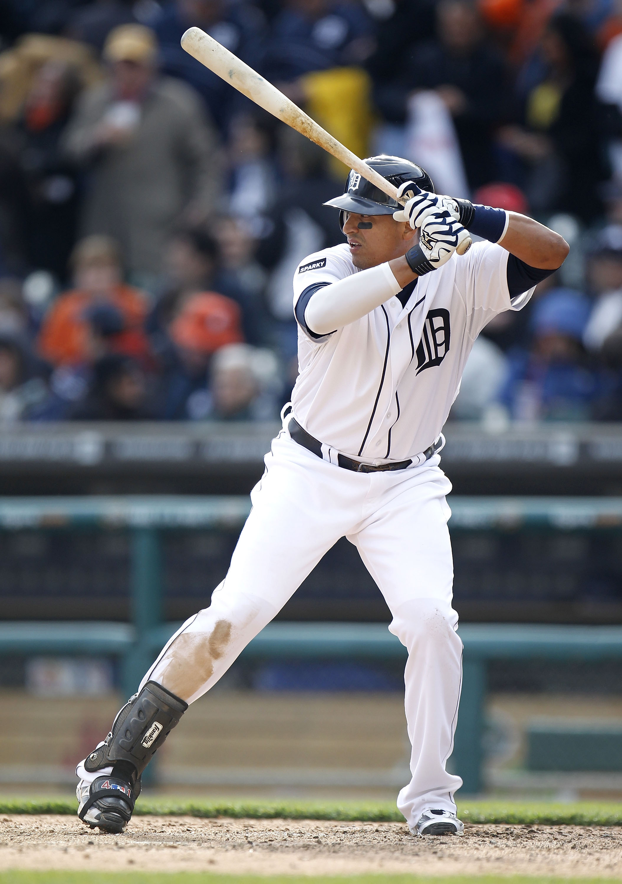 DETROIT, MI - APRIL 08:  Victor Martinez #41 of the Detroit Tigers bats in the seventh inning while playing the Kansas City Royals during Opening Day at Comerica Park on April 8, 2011 in Detroit, Michigan. Detroit won the game 5-2.  (Photo by Gregory Sham