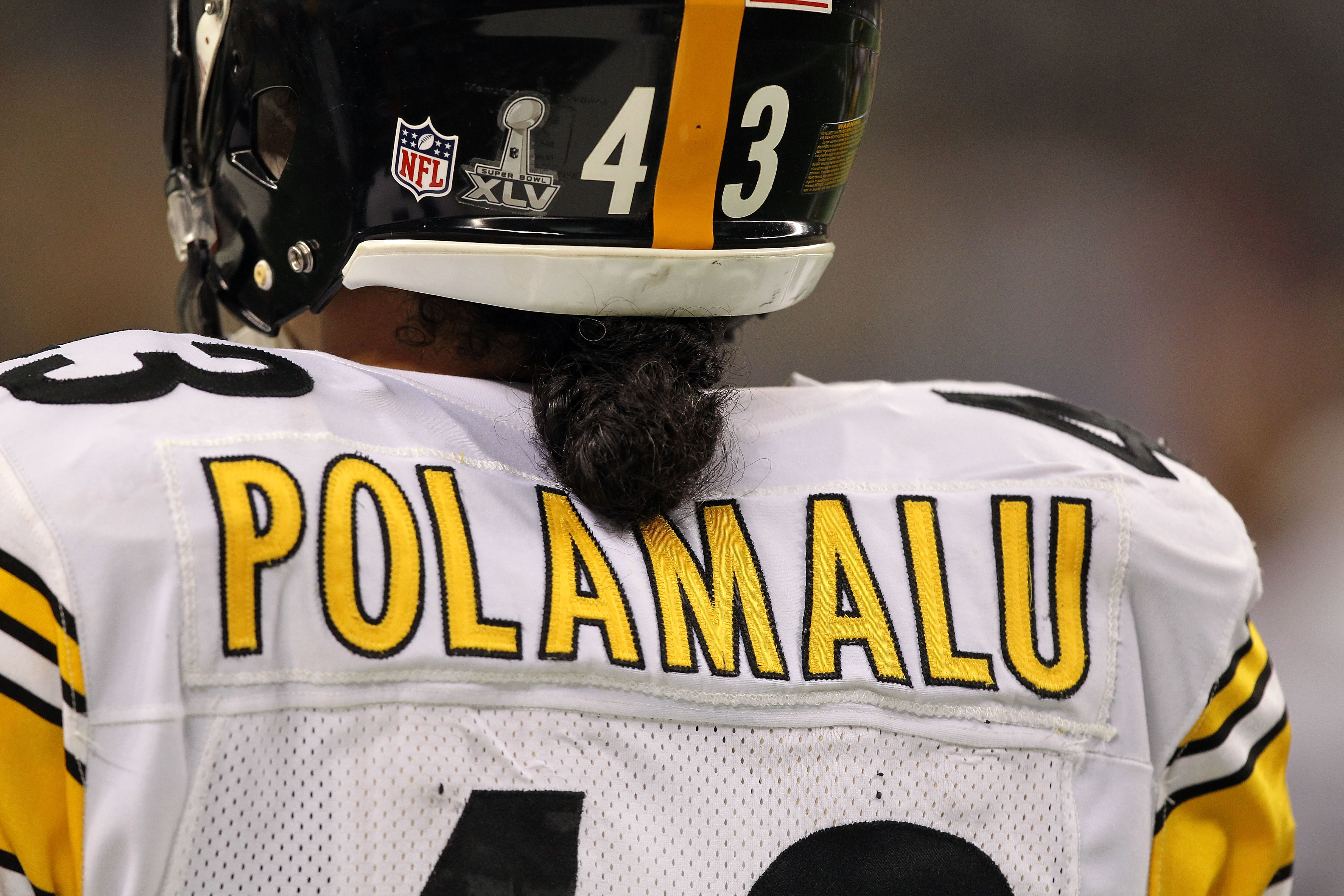 ARLINGTON, TX - FEBRUARY 06:  A detail of the back of the jersey of Troy Polamalu #43 of the Pittsburgh Steelers against the Green Bay Packers during Super Bowl XLV at Cowboys Stadium on February 6, 2011 in Arlington, Texas.  (Photo by Al Bello/Getty Imag