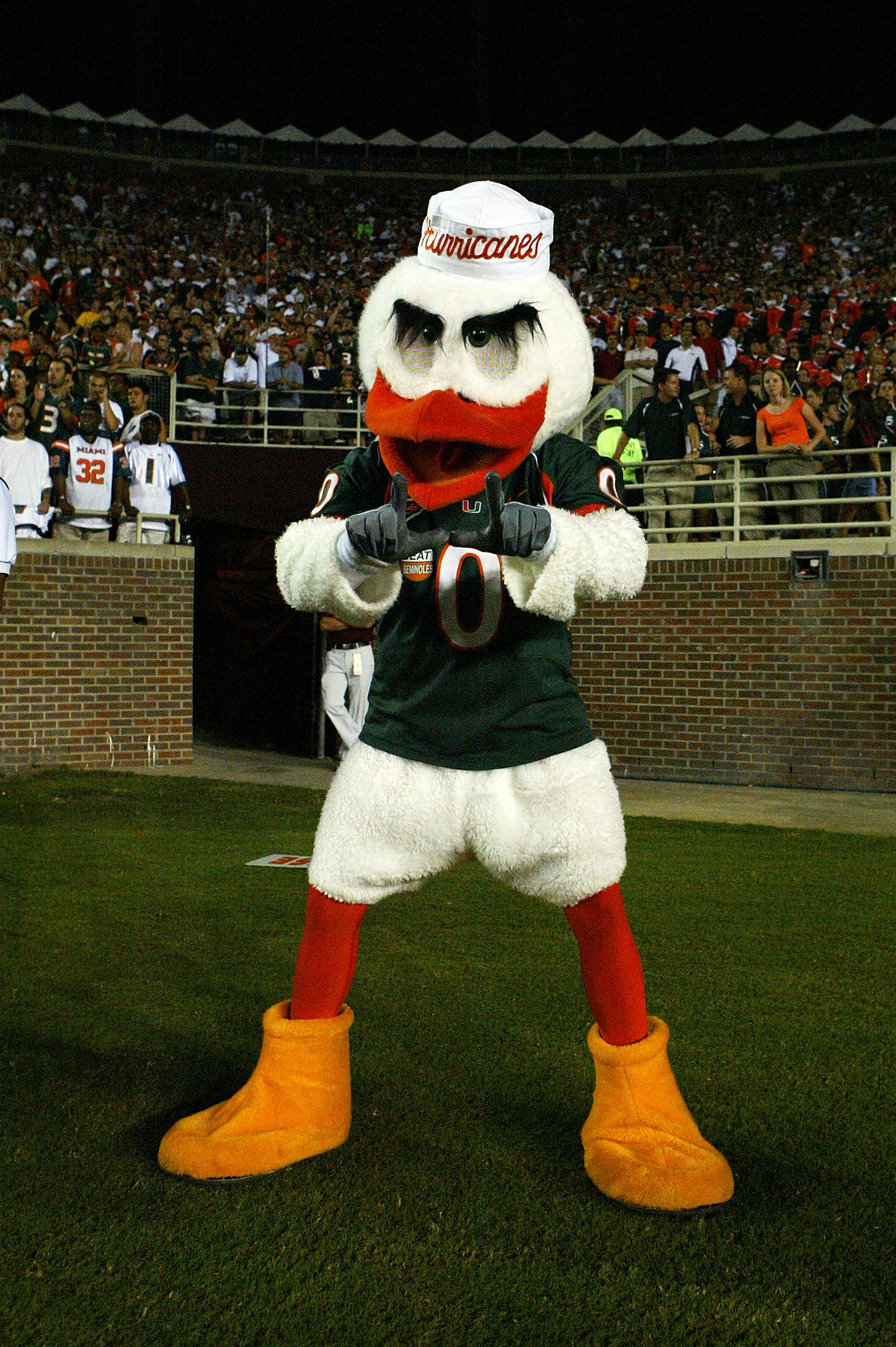 TALLAHASSEE, FL - SEPTEMBER 05:  Miami mascot Sebastian the ibis of the Miami Hurricanes works the crowd against the Florida State Seminoles at Doak Campbell Stadium on September 5, 2005 in Tallahassee, Florida.  (Photo by Doug Benc/Getty Images)