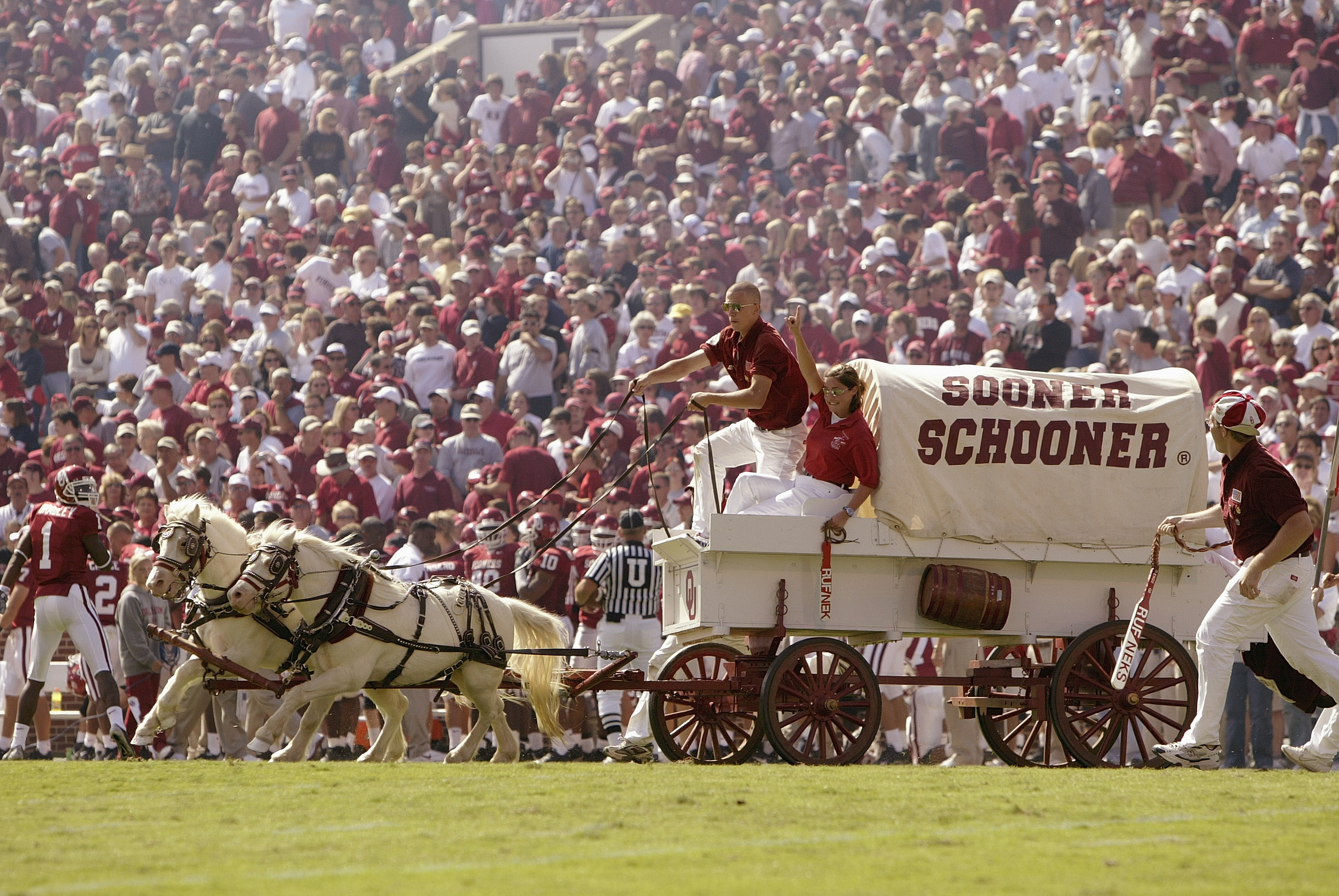 NORMAN, OK - OCTOBER 2:  The Oklahoma Sooner Schooner travels across the field before the football game against Texas Tech Red Raiders on October 2, 2004 at Memorial Stadium in Norman, Oklahoma.  The Sooners defeated the Red Raiders  28-13.  (Photo by Bri