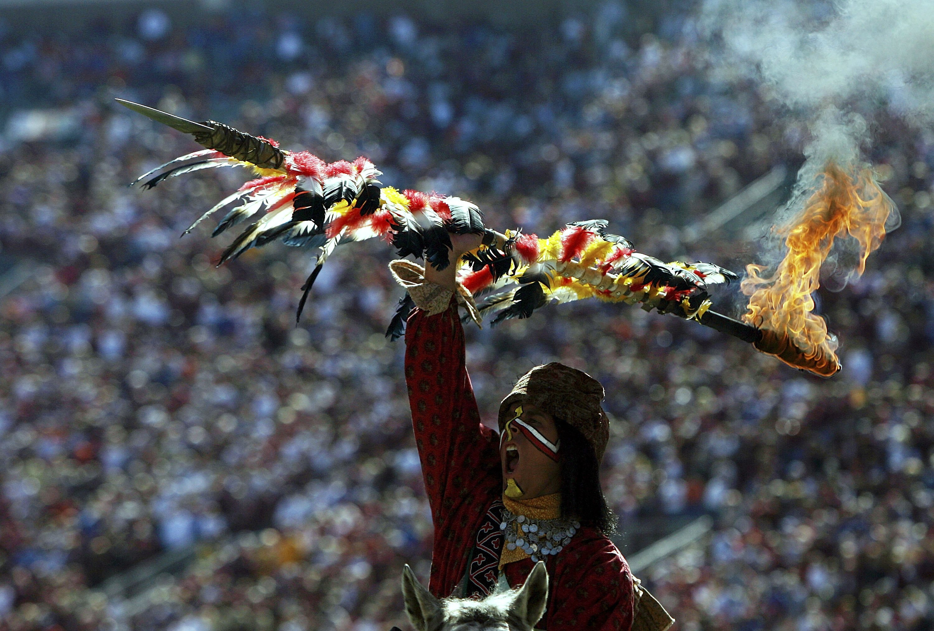TALLAHASSEE, FL - NOVEMBER 25:  Chief Osceola of the Florida State Seminoles holds up a flaming spear during the pre-game ceremony before taking on the Florida Gators at Doak Campbell Stadium November 25, 2006 in Tallahassee, Florida. Florida defeated Flo