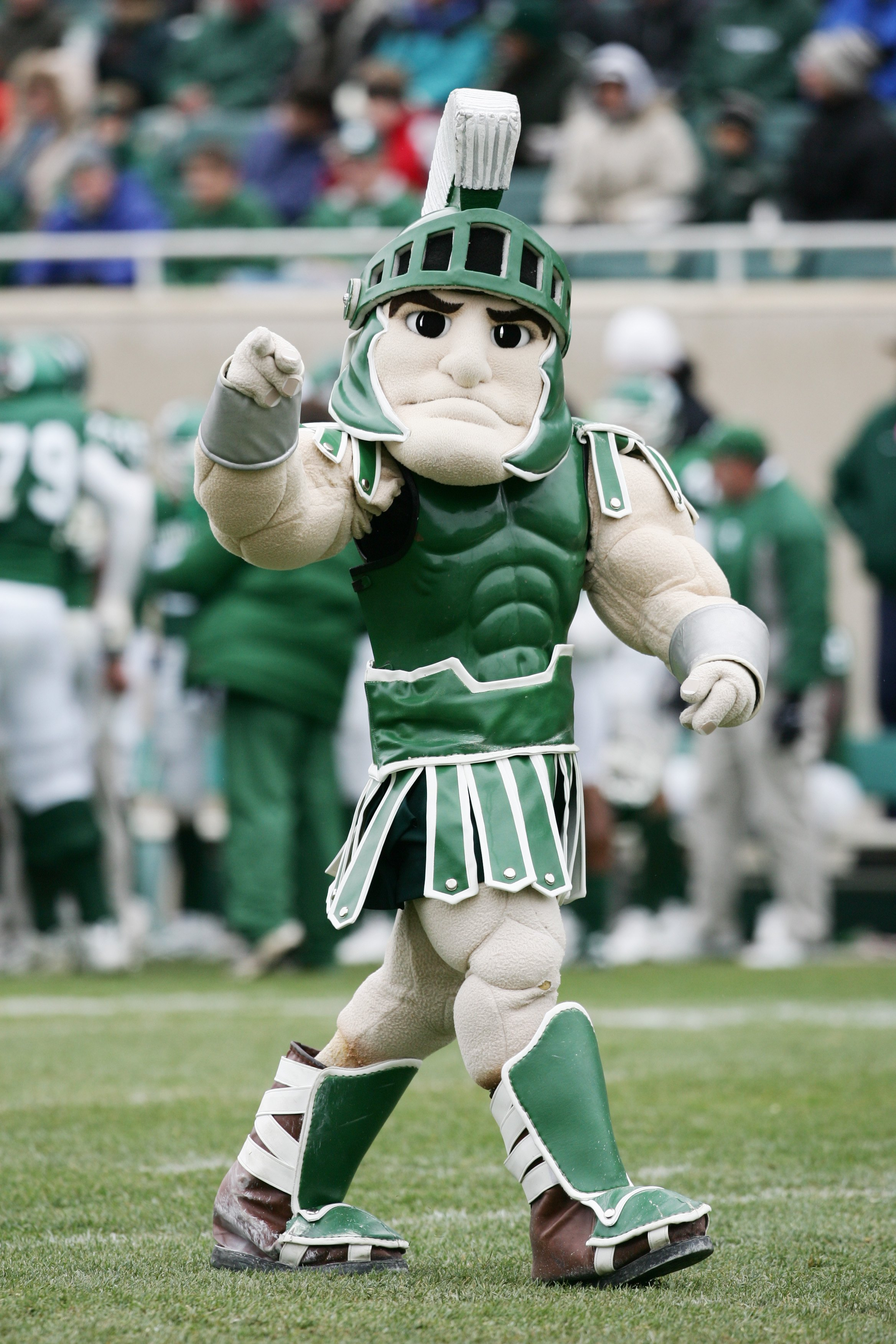EAST LANSING, MI - NOVEMBER 11:  The Michigan State Spartans mascot Sparty walks on the field during the game against the Minnesota Golden Gophers at Spartan Stadium on November 11, 2006 in East Lansing, Michigan. Minnesota won 31-18. (Photo by Harry How/