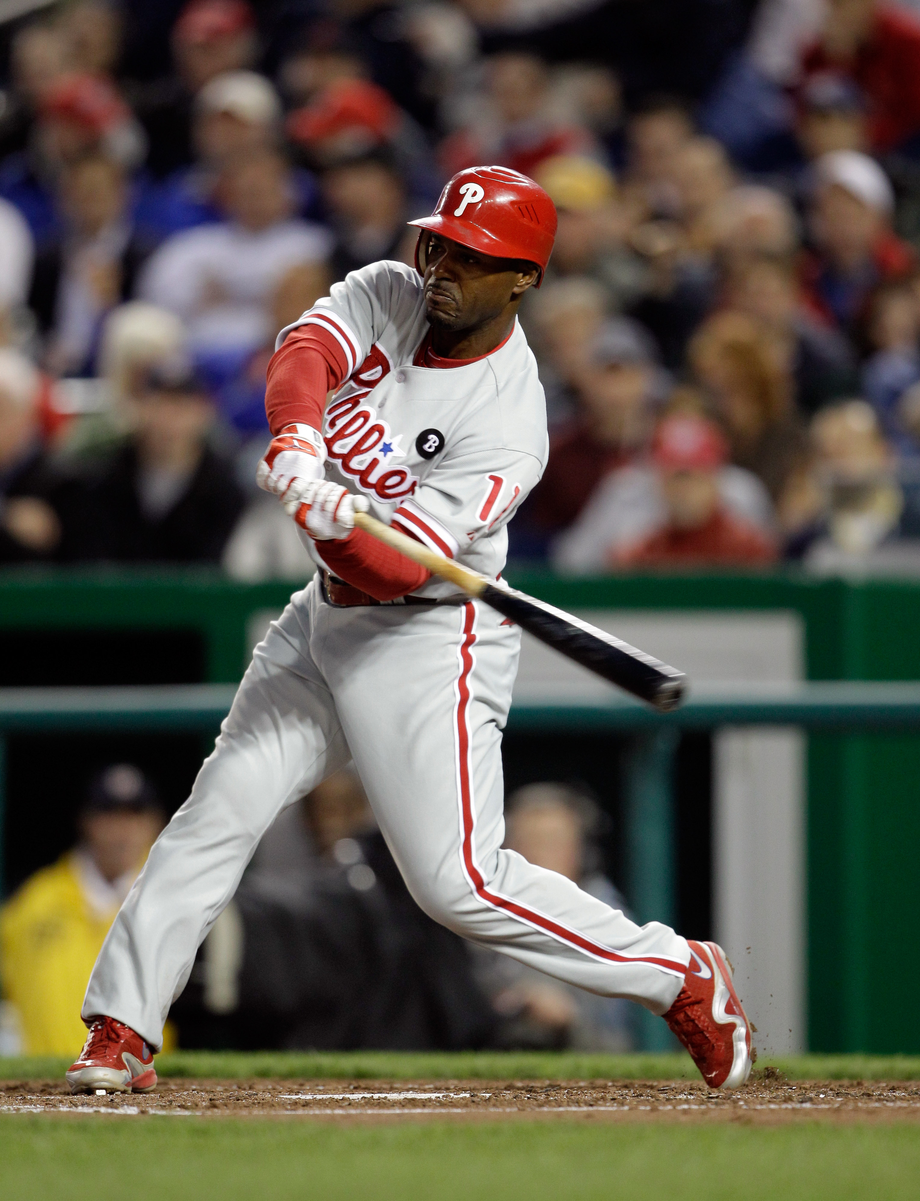 WASHINGTON, DC - APRIL 12: Jimmy Rollins #11 of the Philadelphia Phillies at the plate against the Washington Nationals at Nationals Park on April 12, 2011 in Washington, DC. (Photo by Rob Carr/Getty Images)
