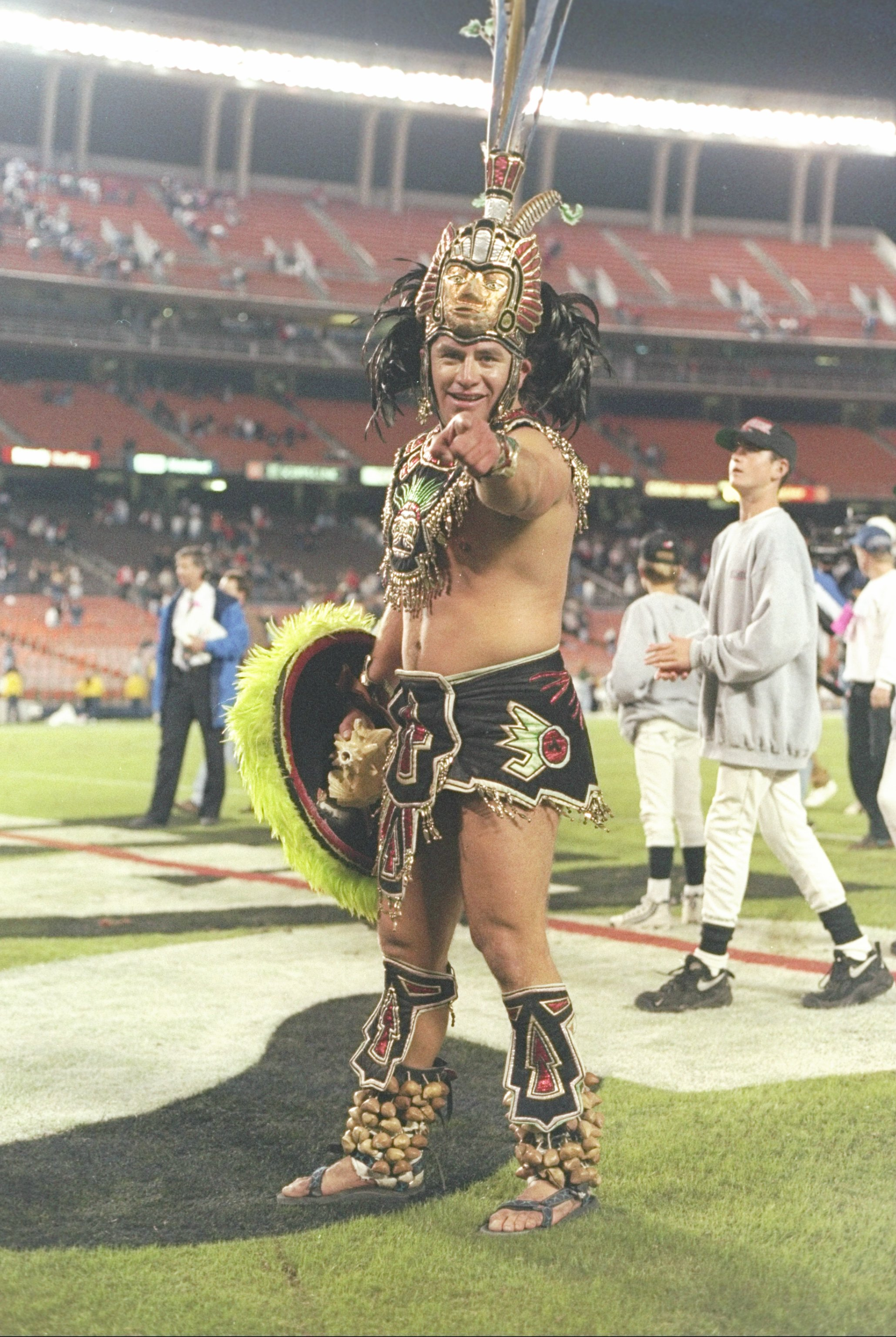 7 Nov 1996:  General view of the mascot for the San Diego State Aztecs gesturing for the camera during a game against the Wyoming Cowboys at Jack Murphy Stadium in San Diego, California.  San Diego won the game 28-24. Mandatory Credit: Craig Jones  /Allsp