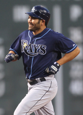 BOSTON, MA - APRIL 11:  Johnny Damon #22 of the Tampa Bay Rays rounds the bases after hitting a home run in the first inning against the Boston Red Sox at Fenway Park April 11, 2011 in Boston, Massachusetts. (Photo by Jim Rogash/Getty Images)