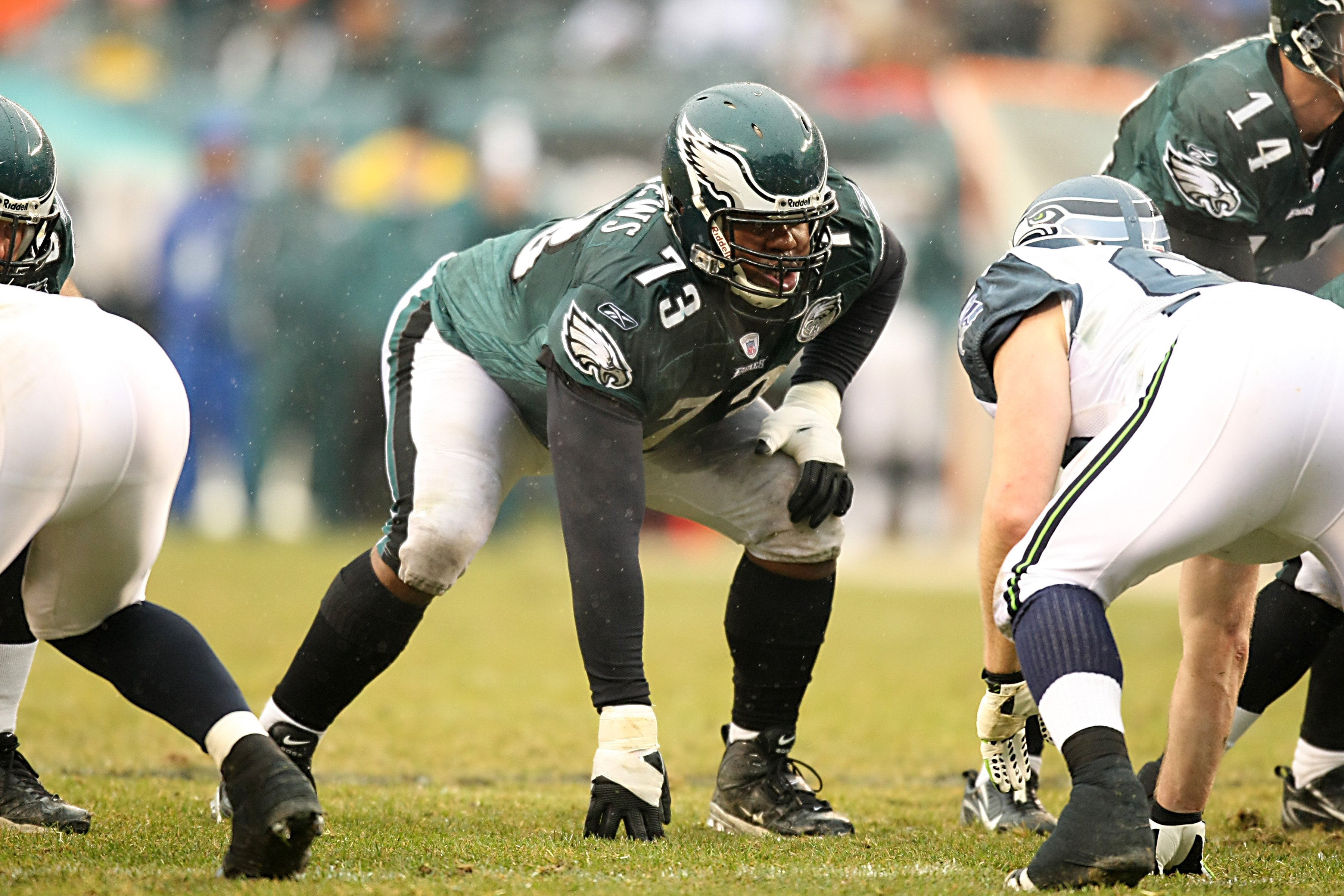 PHILADELPHIA - DECEMBER 2:  Shawn Andrews #73 of the Philadelphia Eagles crouches into position at the line of scrimmage during the NFL game against the Seattle Seahawks at the Lincoln Financial Field on December 2, 2007 in Philadelphia, Pennsylvania. (Ph