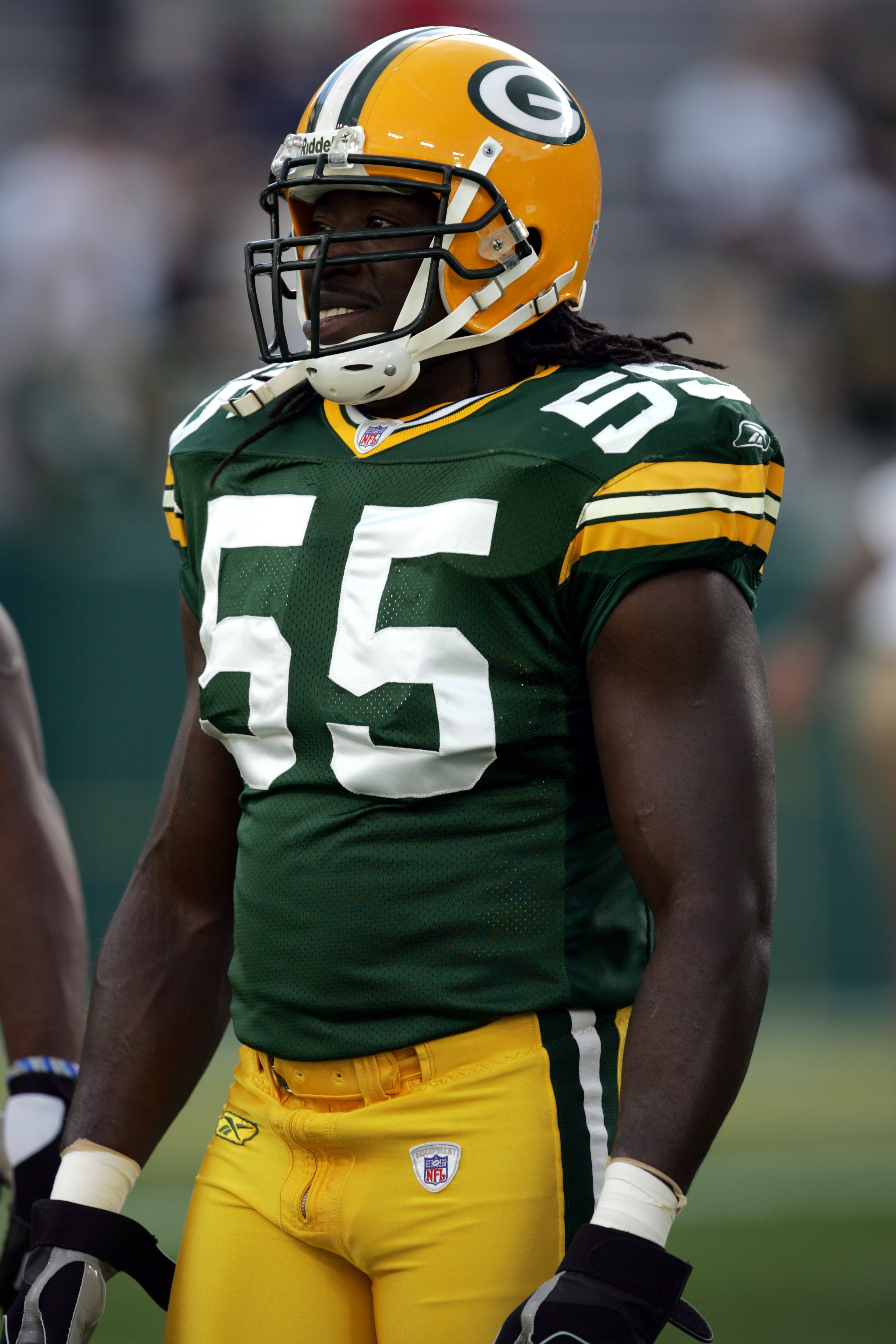 GREEN BAY, WI - AUGUST 19:  Linebacker Abdul Hodge #55 of the Green Bay Packers stands on the field during the preseason game against the Atlanta Falcons on August 19, 2006 at Lambeau Field in Green Bay, Wisconsin. The Packers won 38-10. (Photo by Jonatha