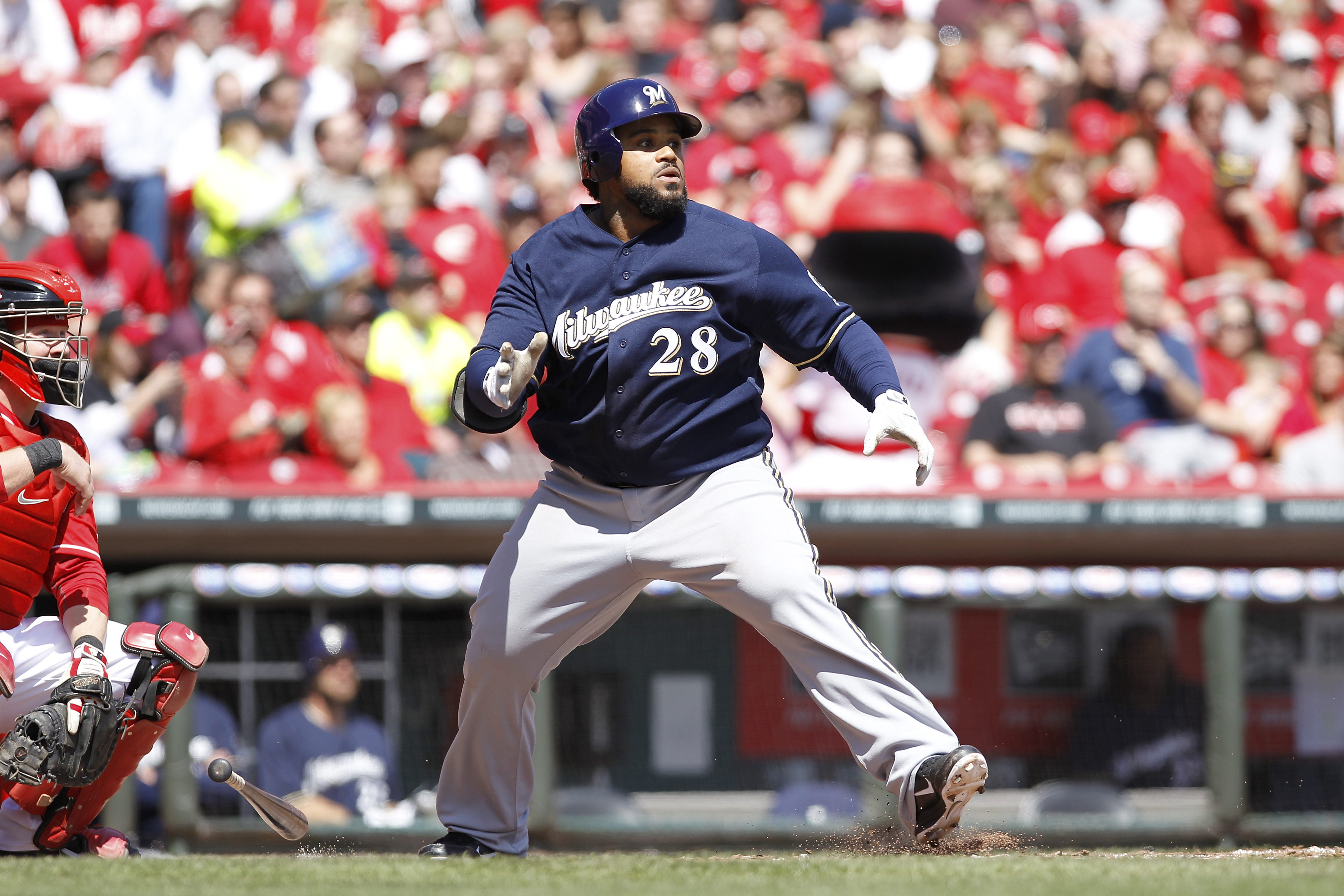 CINCINNATI, OH - APRIL 3: Prince Fielder #28 of the Milwaukee Brewers hits the ball against the Cincinnati Reds at Great American Ball Park on April 3, 2011 in Cincinnati, Ohio. The Reds won 12-3. (Photo by Joe Robbins/Getty Images)