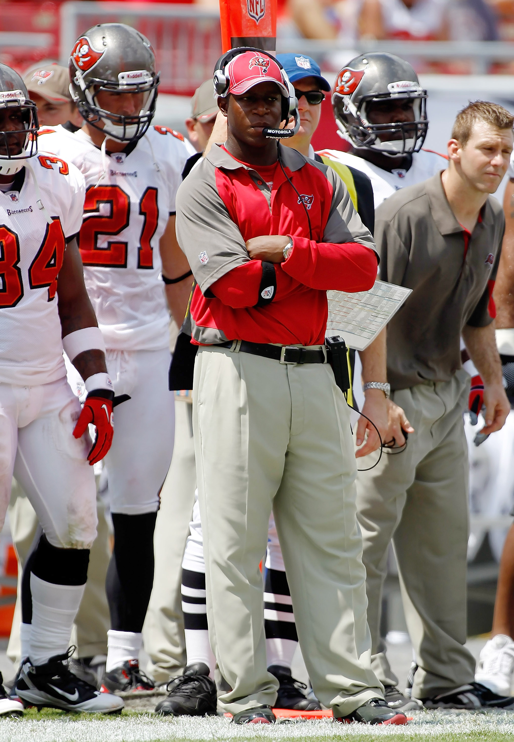 TAMPA, FL - SEPTEMBER 12:  Head coach Raheem Morris of the Tampa Bay Buccaneers watches his team against the Cleveland Browns during the NFL season opener game at Raymond James Stadium on September 12, 2010 in Tampa, Florida.  (Photo by J. Meric/Getty Ima