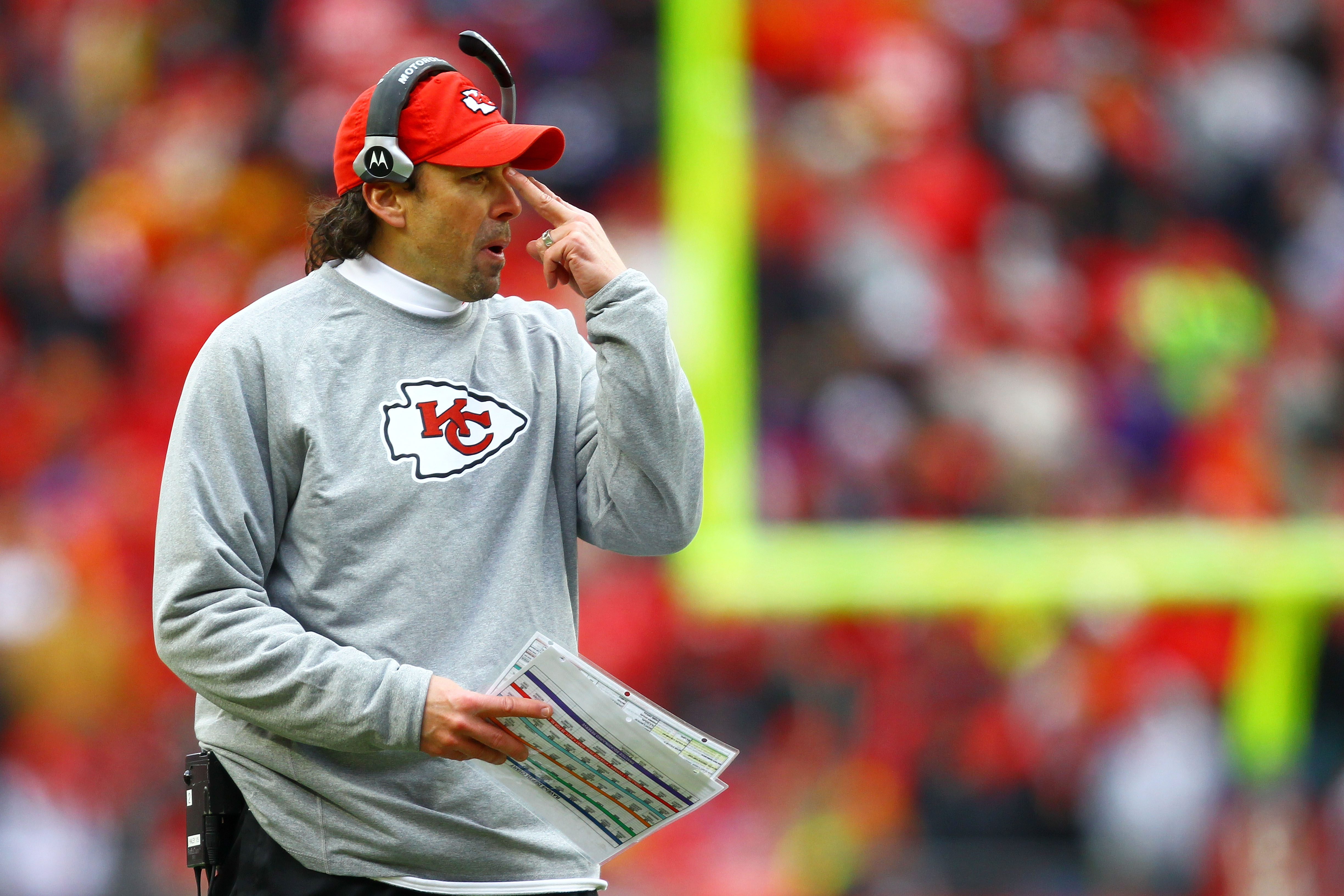KANSAS CITY, MO - JANUARY 09:  Head coach Todd Haley of the Kansas City Chiefs looks on during the 2011 AFC wild card playoff game against the Baltimore Ravens at Arrowhead Stadium on January 9, 2011 in Kansas City, Missouri.  (Photo by Dilip Vishwanat/Ge