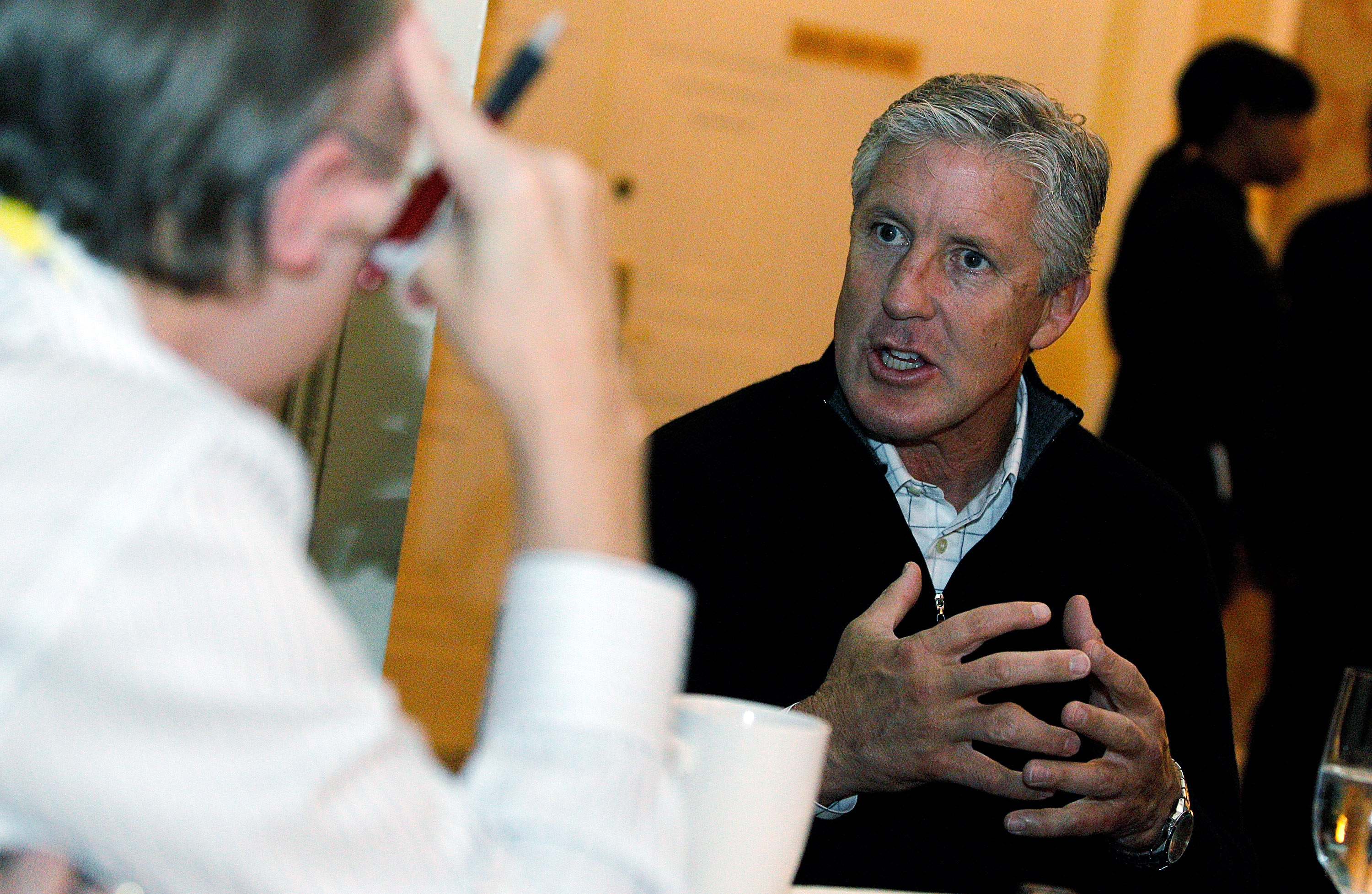 NEW ORLEANS, LA - MARCH 22:  Seattle Seahawks head coach Pete Carroll answers questions from the media during the NFL Annual Meetings at the Roosevelt Hotel on March 22, 2011 in New Orleans, Louisiana. Despite a NFL owners imposed lockout in effect since