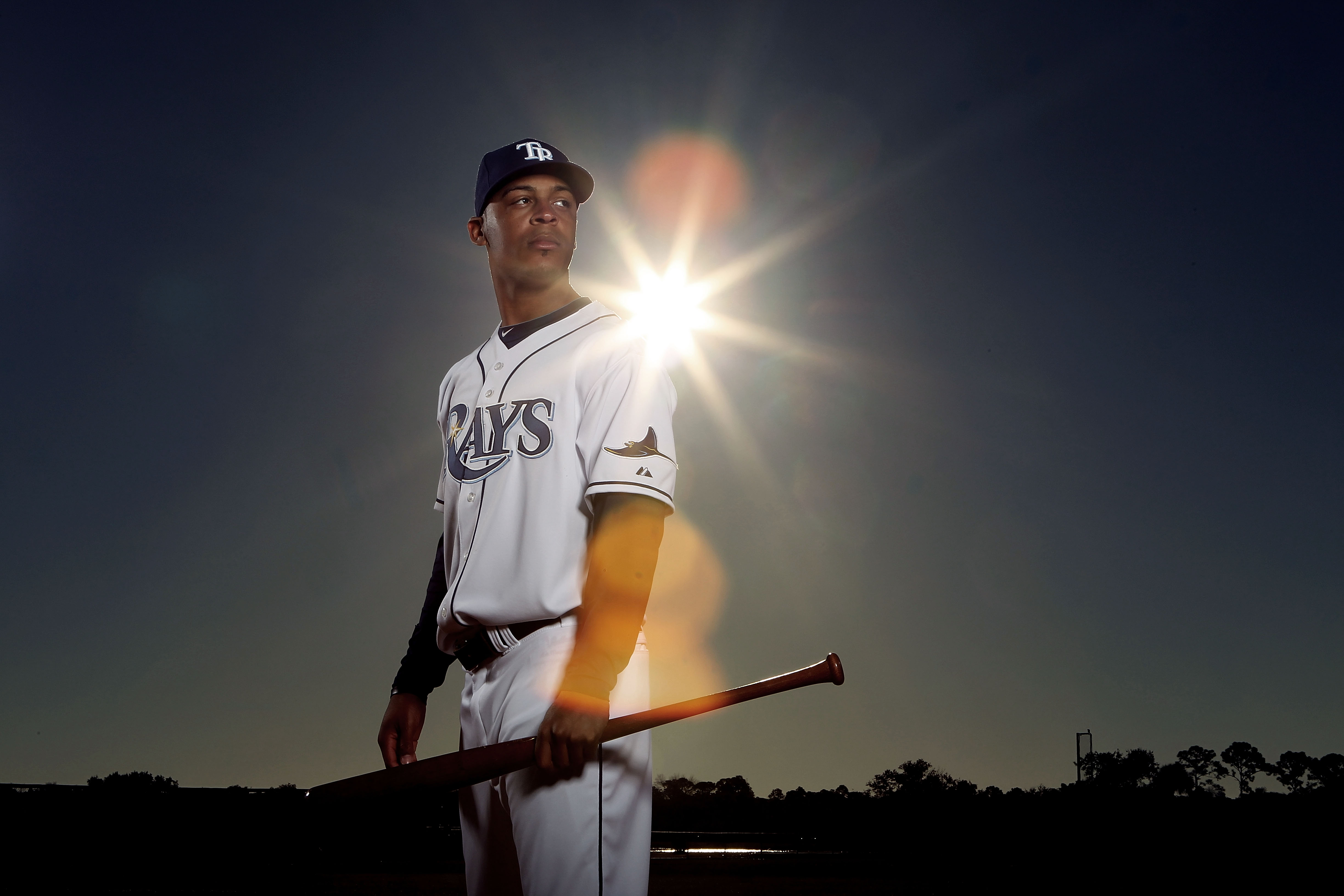PORT CHARLOTTE, FL - FEBRUARY 26:  (EDITOR'S NOTE: IMAGE HAS BEEN DIGITALLY DESATURATED) Desmond Jennings #27 of the Tampa Bay Rays poses for a photo during Spring Training Media Photo Day at Charlotte County Sports Park on February 26, 2010 in Port Charl