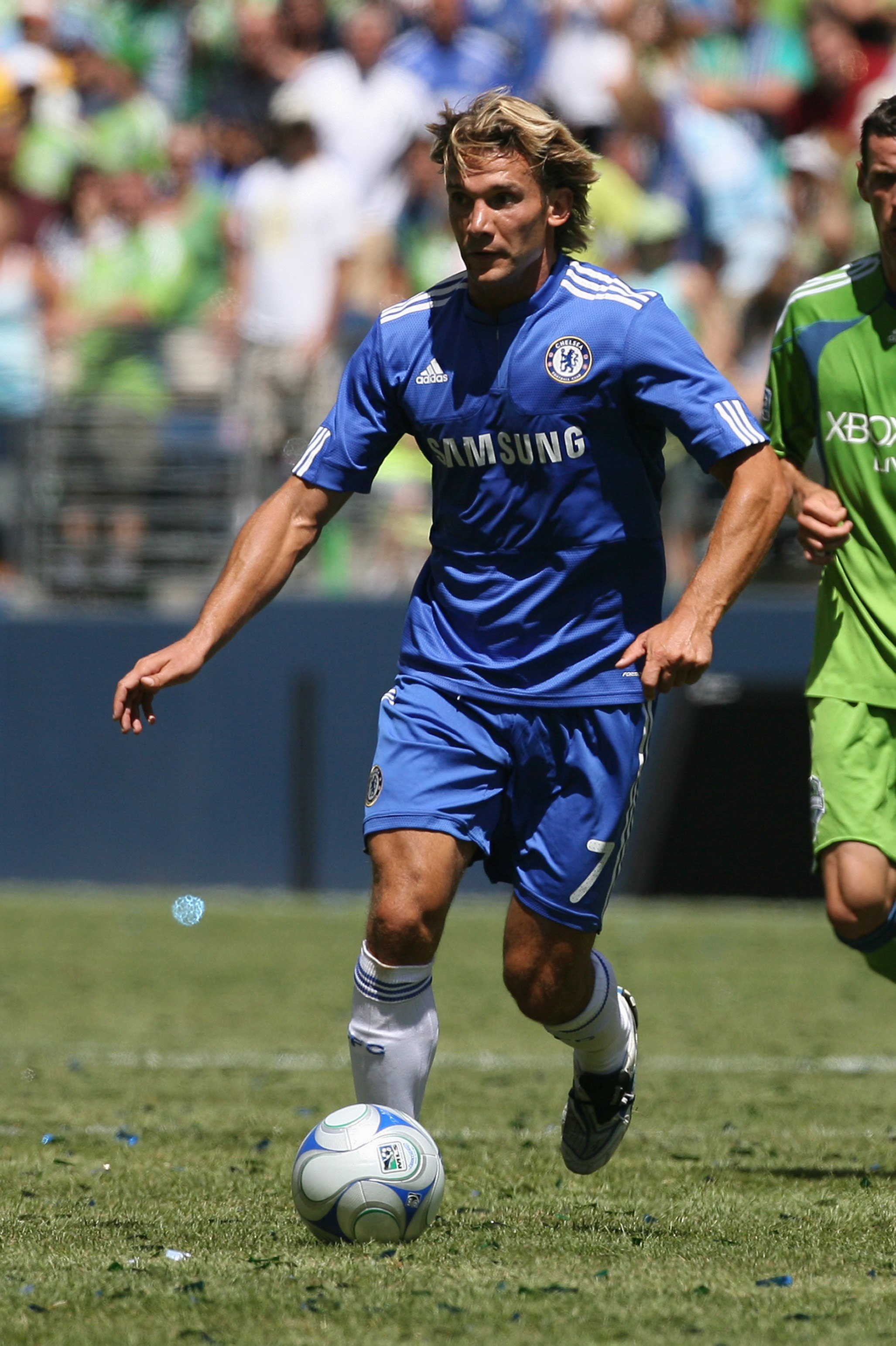 SEATTLE - JULY 18:  Andriy Shevchenko #7 of Chelsea FC dribbles the ball against Seattle Sounders FC on July 18, 2009 at Qwest Field in Seattle, Washington. (Photo by Otto Greule Jr/Getty Images)