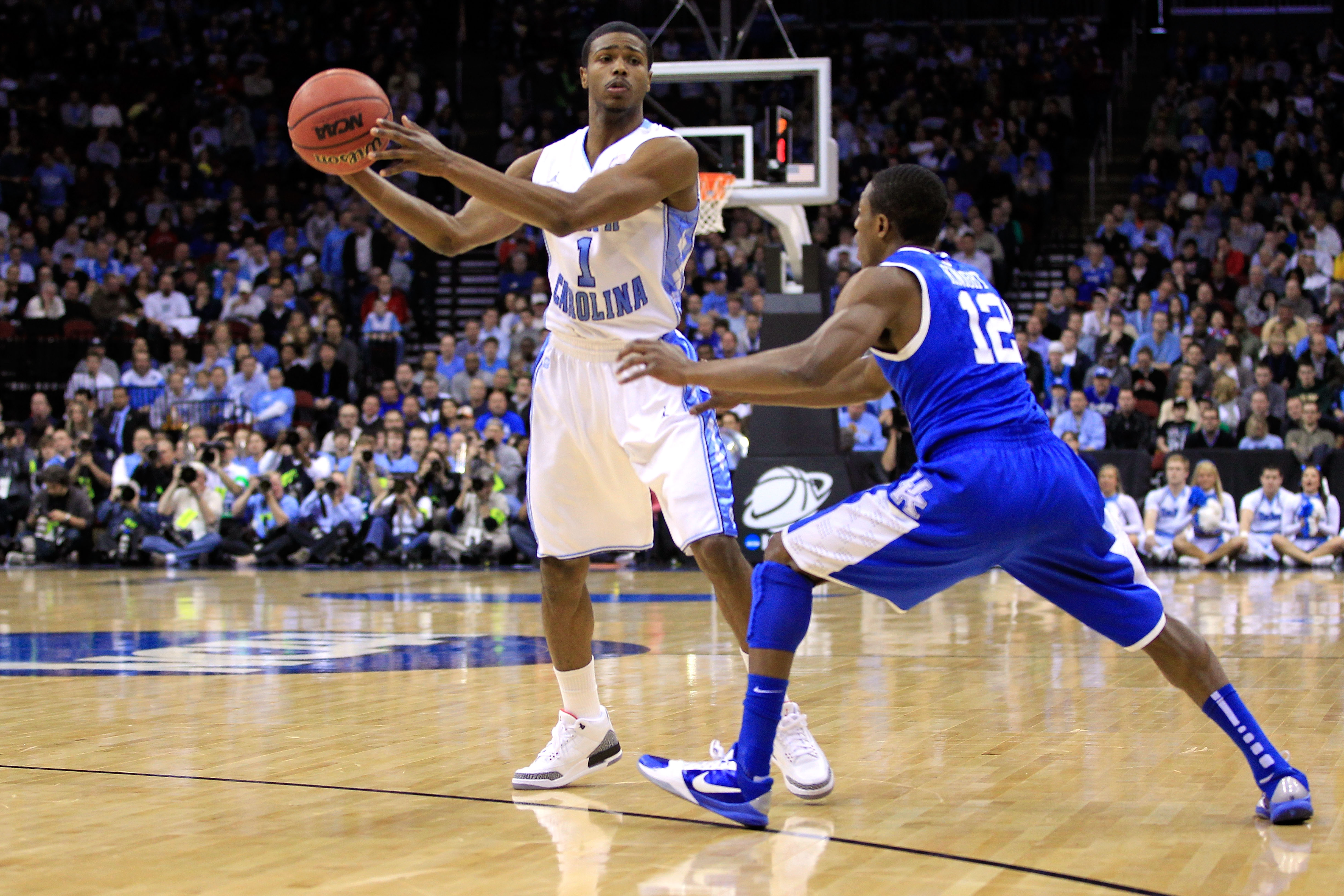 NEWARK, NJ - MARCH 27:  Dexter Strickland #1 of the North Carolina Tar Heels in action against Brandon Knight #12 of the Kentucky Wildcats during the east regional final of the 2011 NCAA men's basketball tournament at Prudential Center on March 27, 2011 i