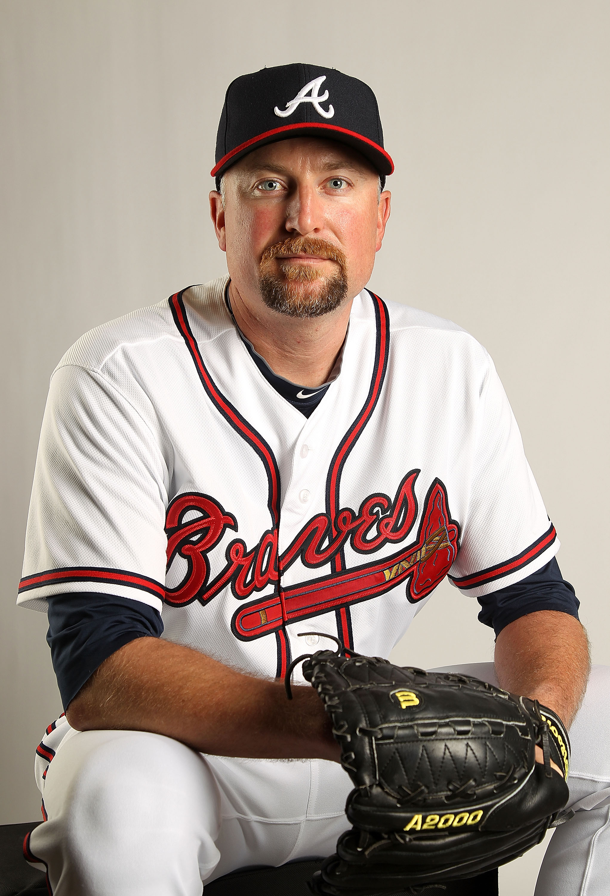 LAKE BUENA VISTA, FL - FEBRUARY 21: Scott Linebrink #19 of the Atlanta Braves during Photo Day at  Champion Stadium at ESPN Wide World of Sports Complex on February 21, 2011 in Lake Buena Vista, Florida.  (Photo by Mike Ehrmann/Getty Images)