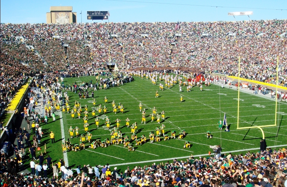 Pregame USC - Notre Dame Players Taking the Field in South Bend