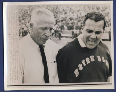 USC Coach John McKay and Notre Dame Coach Ara Parseghian after the game