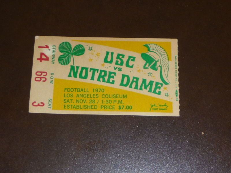1970 USC vs Notre Dame ticket