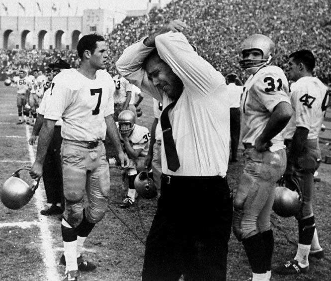 Notre Dame head coach Ara Parseghian reacts to the upset loss