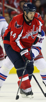 WASHINGTON, DC - APRIL 15: Jason Arnott #44 of the Washington Capitals skates against the New York Rangers in Game Two of the Eastern Conference Quarterfinals during the 2011 NHL Stanley Cup Playoffs at Verizon Center on April 15, 2011 in Washington, DC.