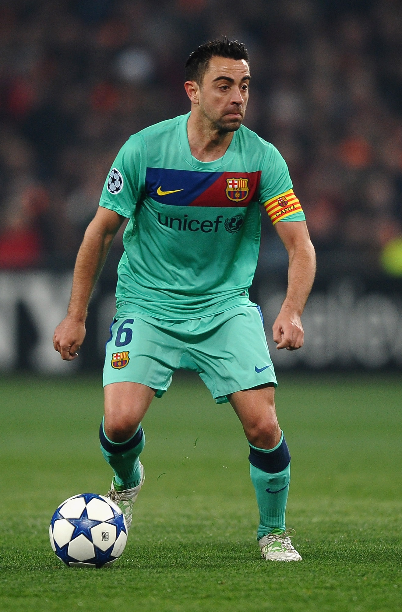 DONETSK, UKRAINE - APRIL 12: Xavi Hernandez of Barcelona in action during the UEFA Champions League Quarter Final 2nd Leg match between Shakhtar Donetsk and Barcelona at the Donbass Arena on April 12, 2011 in Donetsk, Ukraine.  (Photo by Laurence Griffith