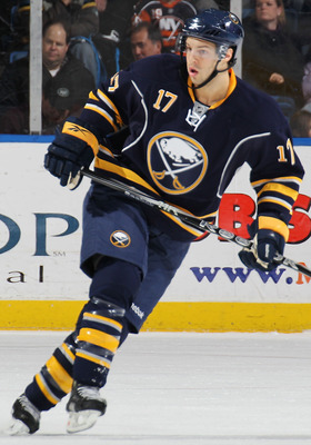UNIONDALE, NY - JANUARY 23:  Marc-Andre Gragnani #17 of the Buffalo Sabres skates against the New York Islanders at the Nassau Coliseum on January 23, 2011 in Uniondale, New York. The Sabres won 5-3. (Photo by Bruce Bennett/Getty Images)