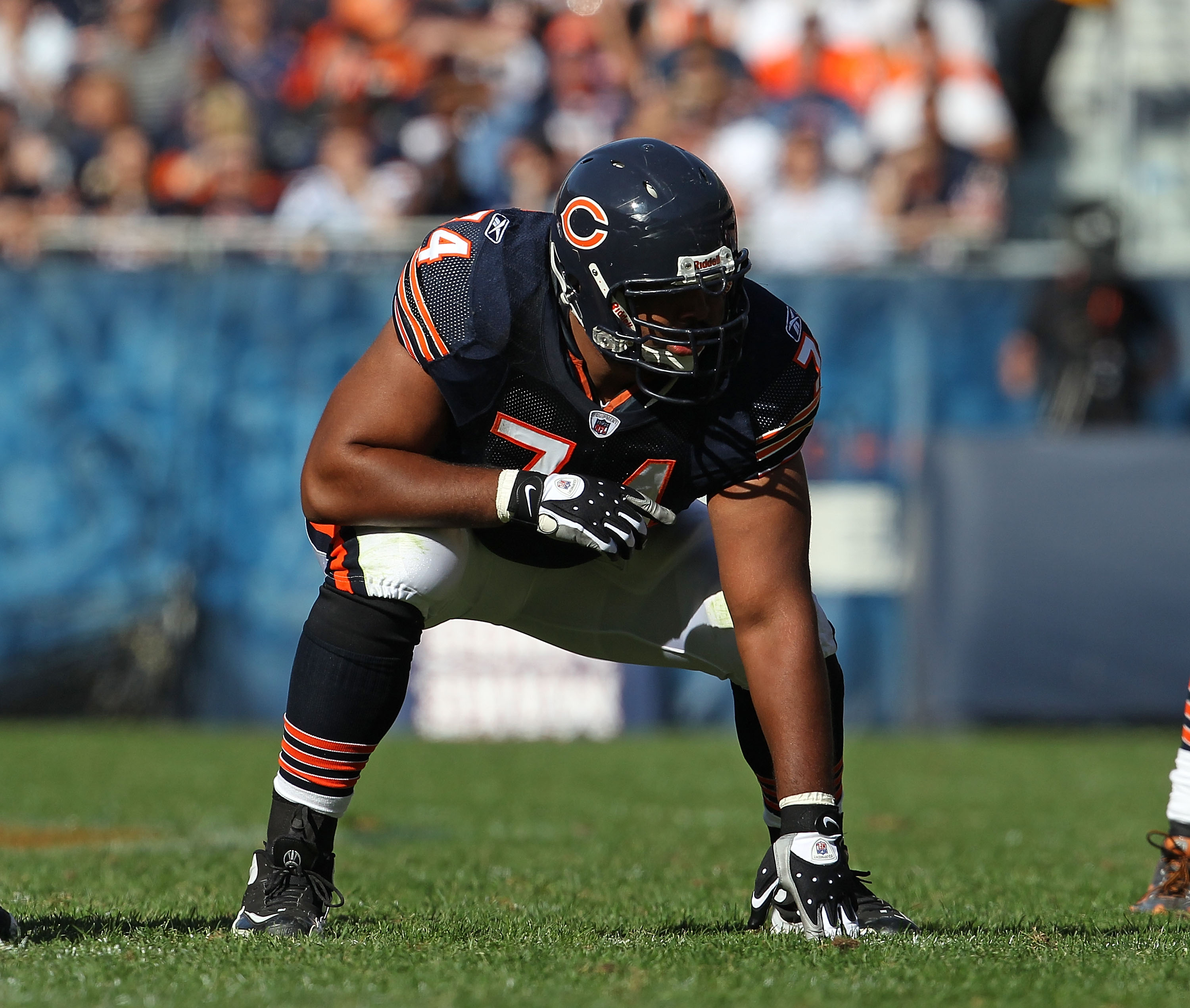 CHICAGO - OCTOBER 17: Chris Williams #74 of the Chicago Bears awaits the start of play against the Seattle Seahawks at Soldier Field on October 17, 2010 in Chicago, Illinois. The Seahawks defeated the Bears 23-20. (Photo by Jonathan Daniel/Getty Images)