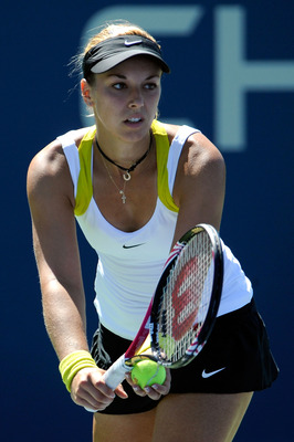 NEW YORK, NY - AUGUST 30:  Sabine Lisicki of Germany serves against Alona Bondarenko of Ukraine during Day Two of the 2011 US Open at the USTA Billie Jean King National Tennis Center on August 30, 2011 in the Flushing neighborhood of the Queens borough of