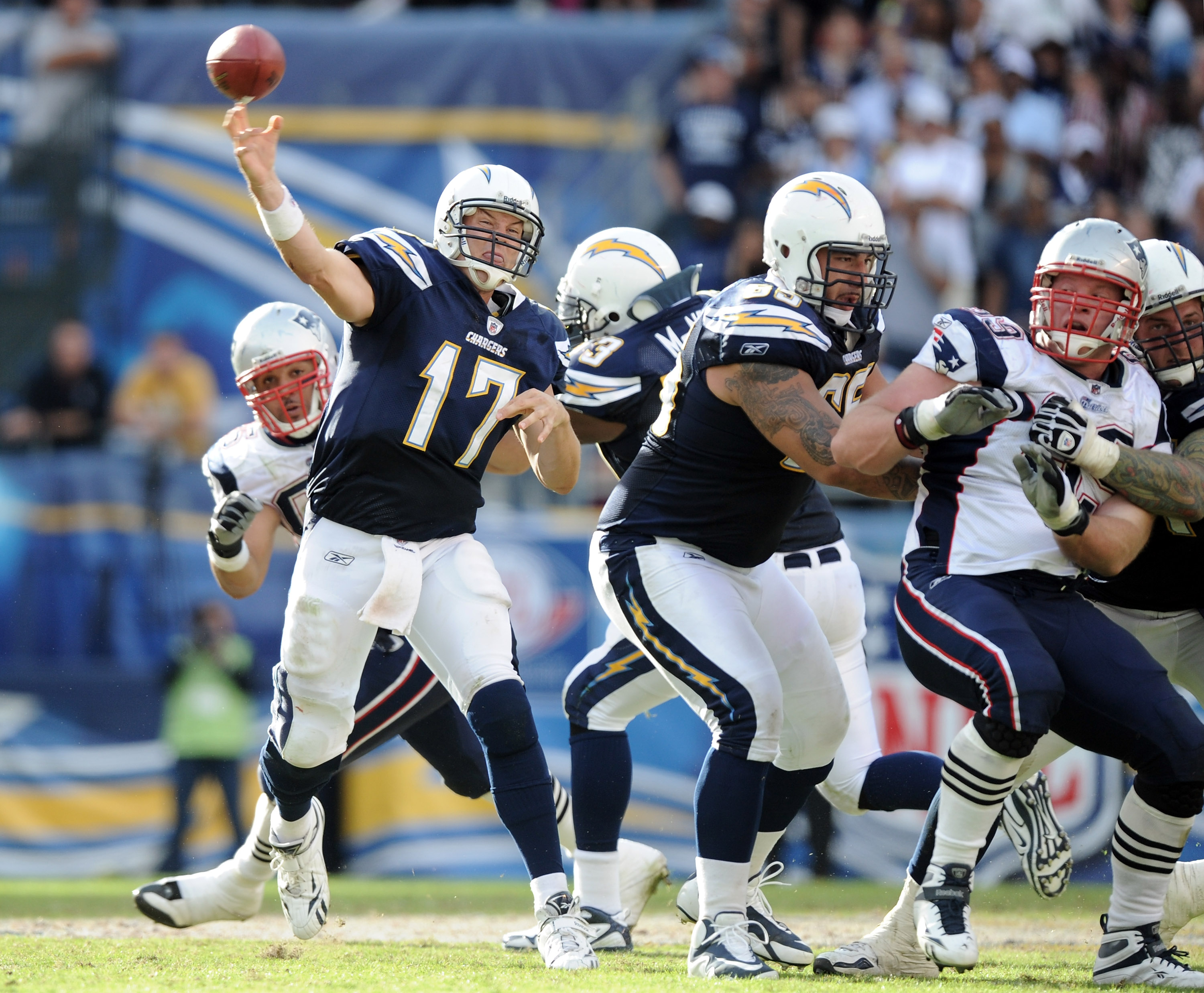SAN DIEGO - OCTOBER 24:  Philip Rivers #17 of the San Diego Chargers throws against the New England Patriots at Qualcomm Stadium on October 24, 2010 in San Diego, California.  (Photo by Harry How/Getty Images)